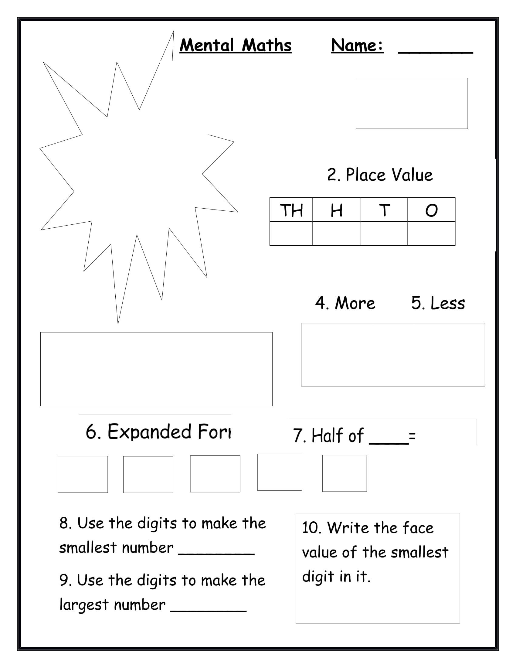 Mental Math Worksheets Grade 3 Mental Maths for Grade 3 4 Digit Numbers