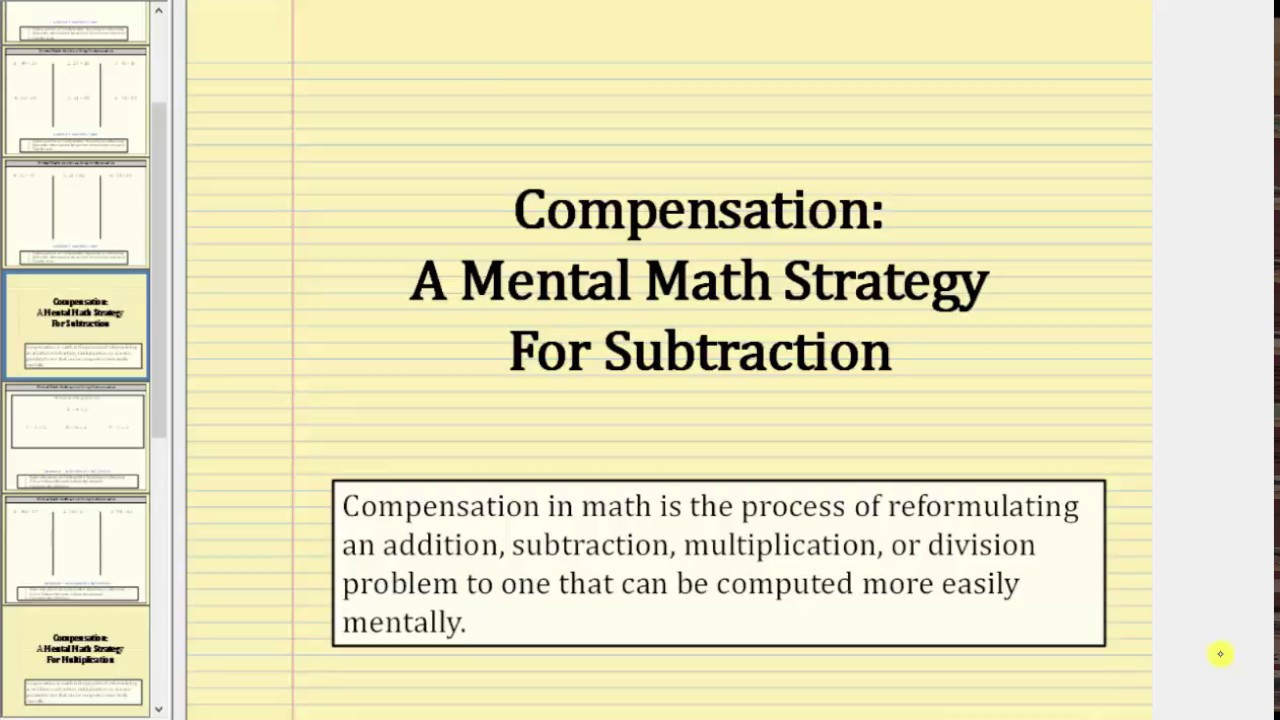 Mental Math Worksheets Grade 6 Mental Math Subtraction Using Pensation