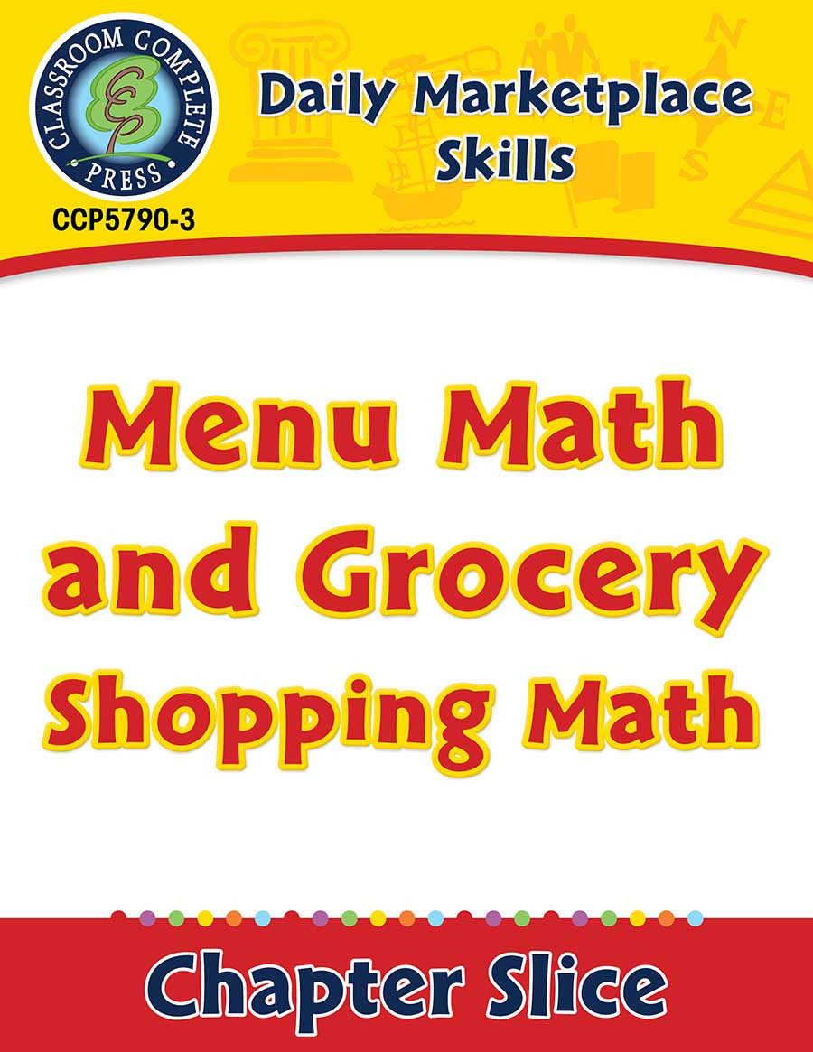 Menu Math Printable Daily Marketplace Skills Menu Math and Grocery Shopping