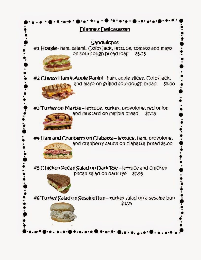 Menu Math Printable Freebies