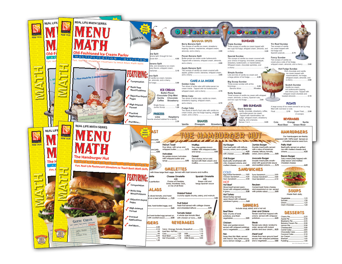 Menu Math Printable Restaurant Math Worksheets Money