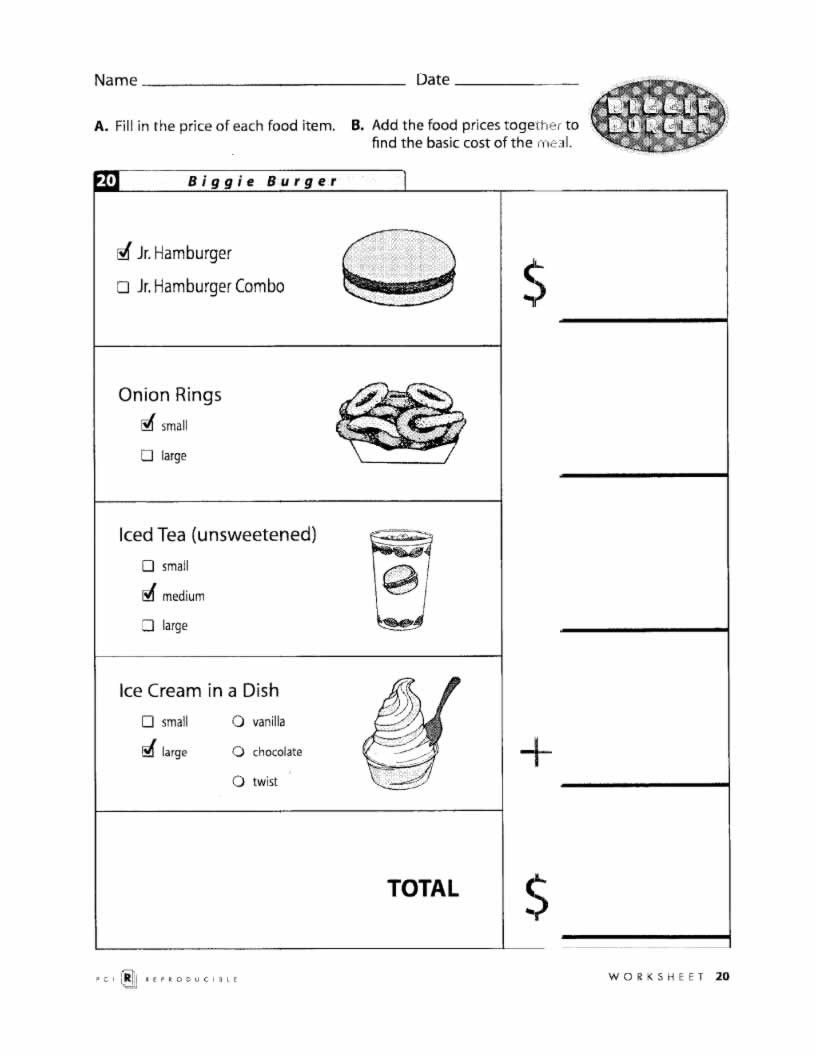 Menu Math Worksheets Fast Food Basic Menu Math