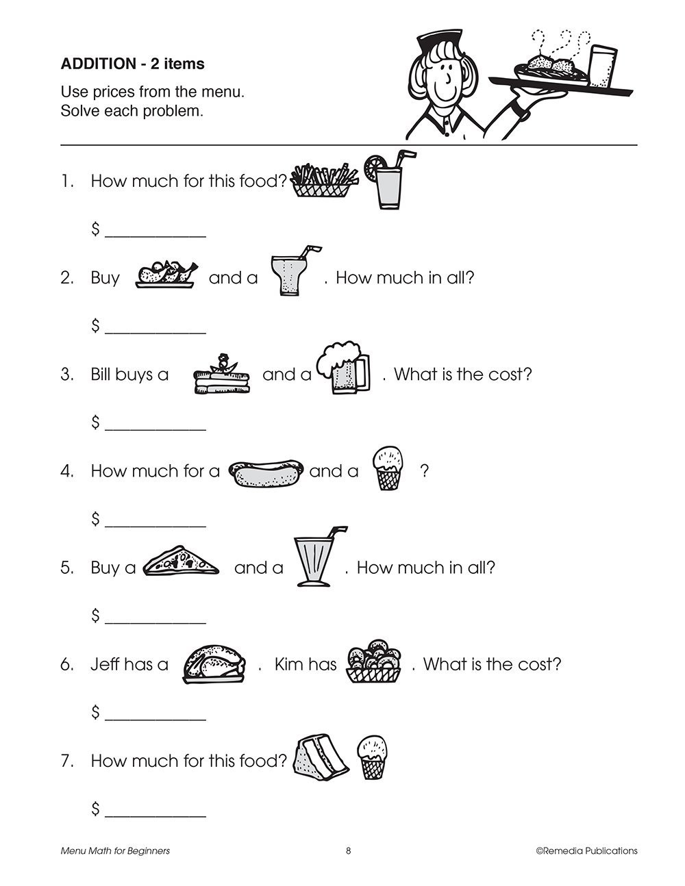 Menu Math Worksheets Menu Math for Beginners Johnson Barbara