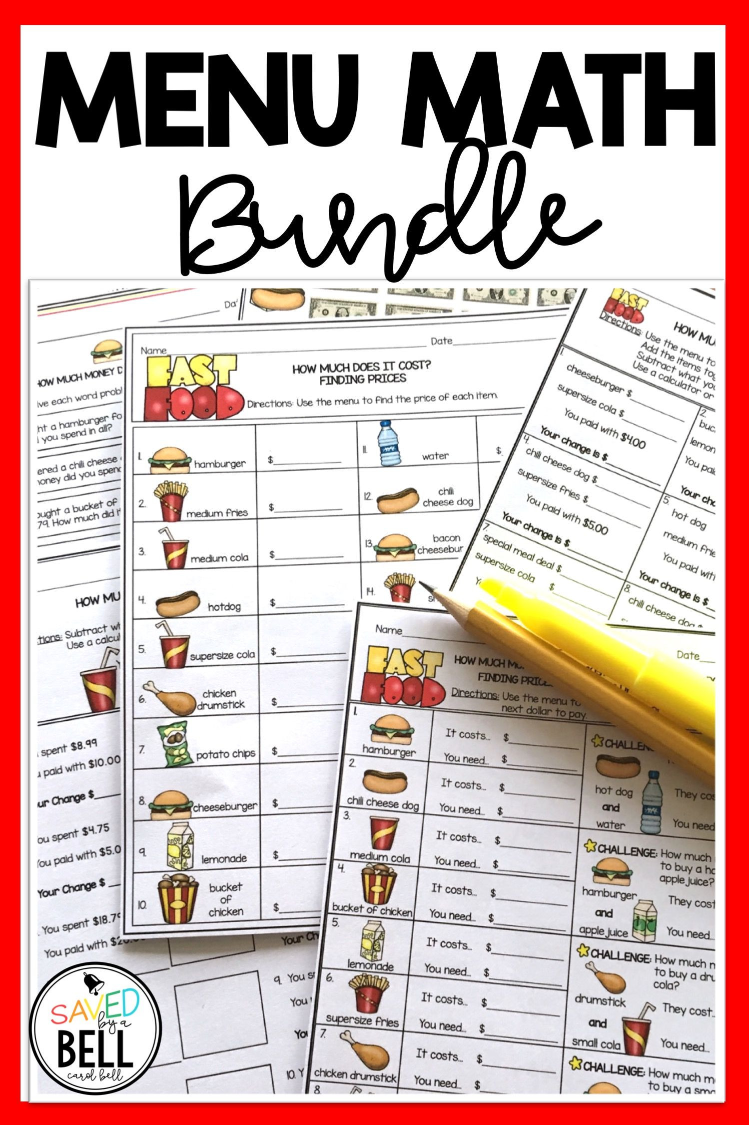 Menu Math Worksheets Money Worksheets and Word Problems Bundle Menu Math Distance