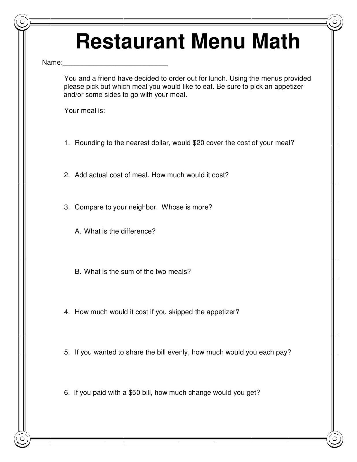 Menu Math Worksheets Pin by Bethany Hunter On Things for My Classroom