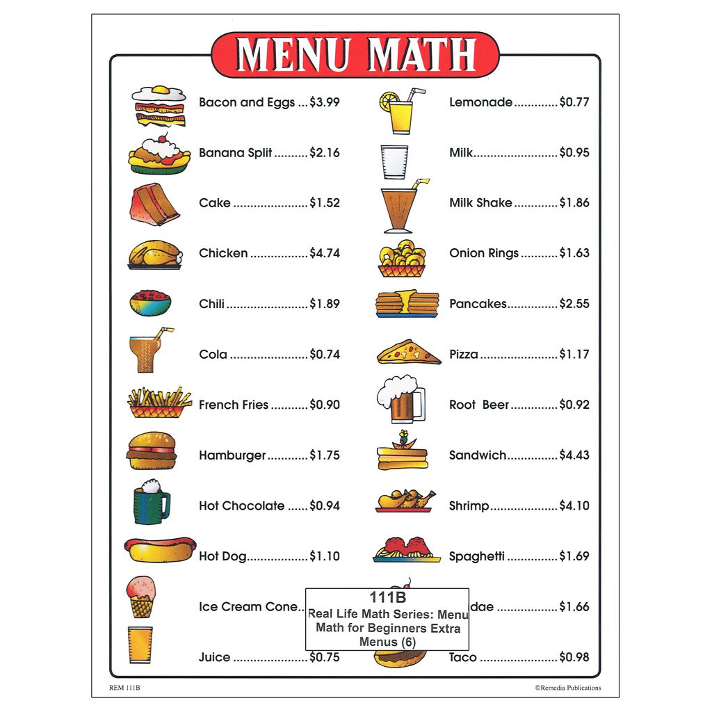 Menu Math Worksheets Remedia Publications Real Life Math Series Menu Math for Beginners Set 6 Extra Price Lists