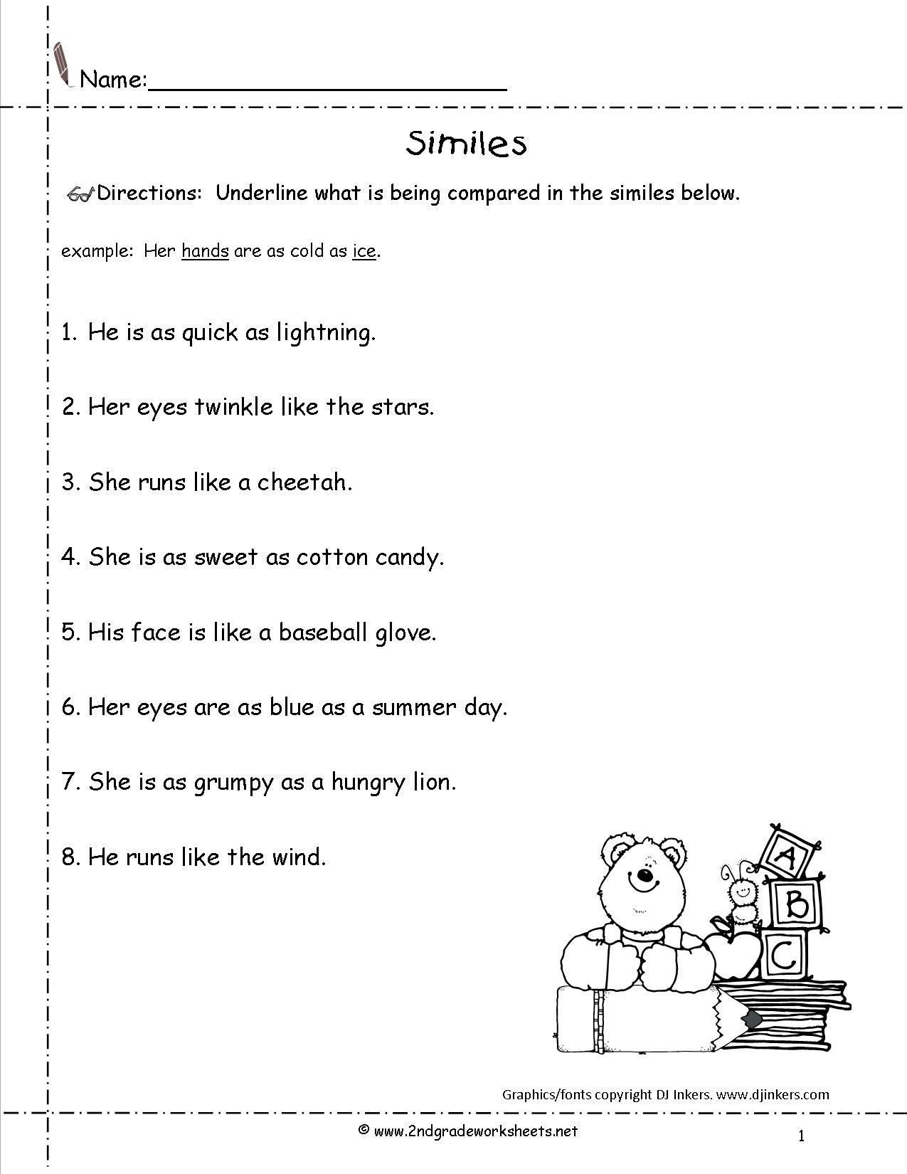 Metaphor Worksheet Middle School Pin On Printable Worksheet for Kids