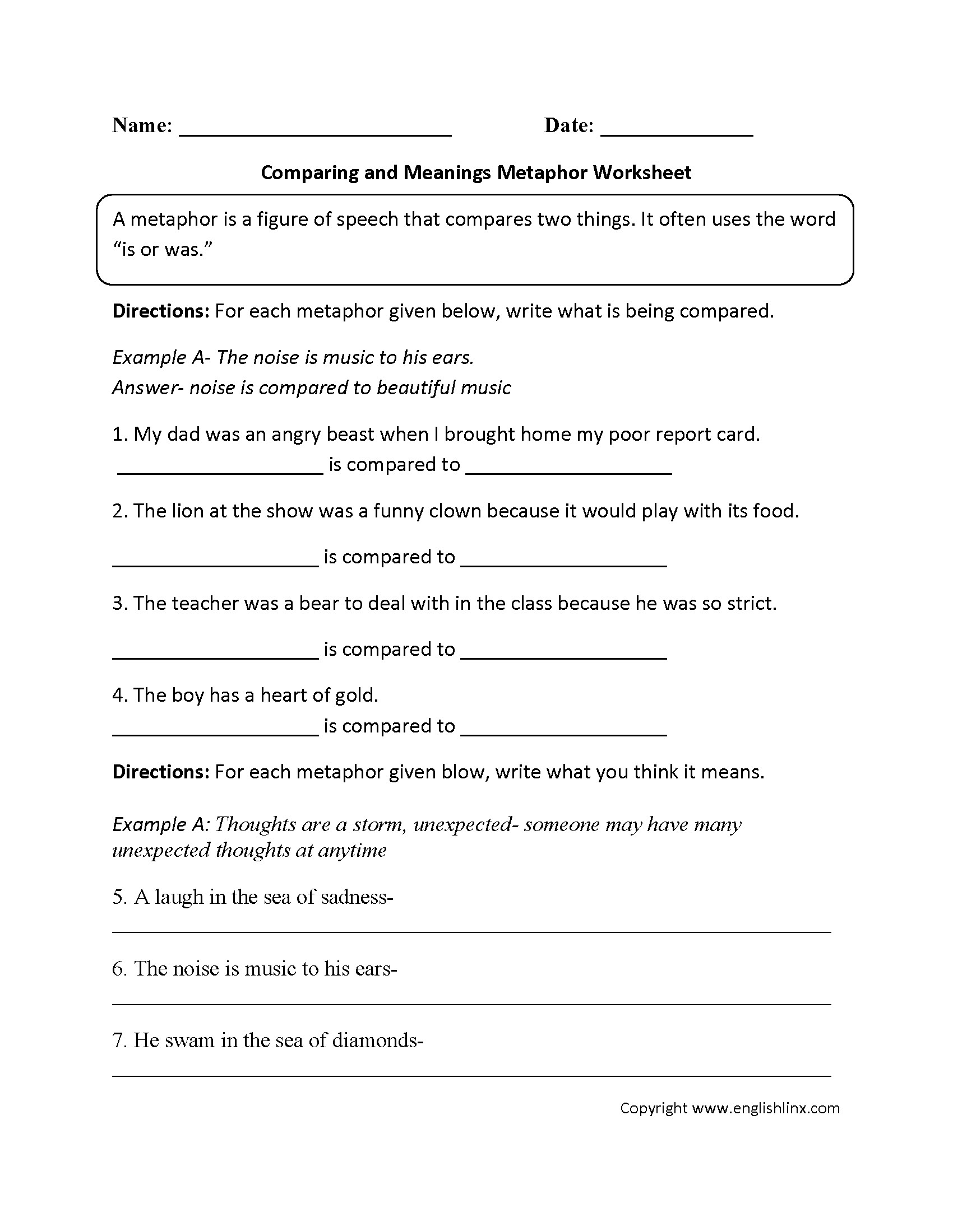 Metaphor Worksheet Middle School Simile Metaphor Worksheet Grade 5