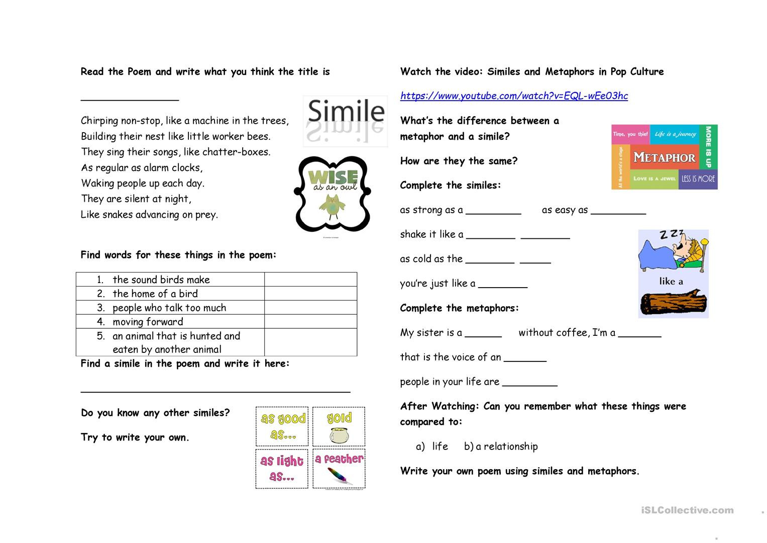 Metaphor Worksheet Middle School Simile Worksheets 1st Grade