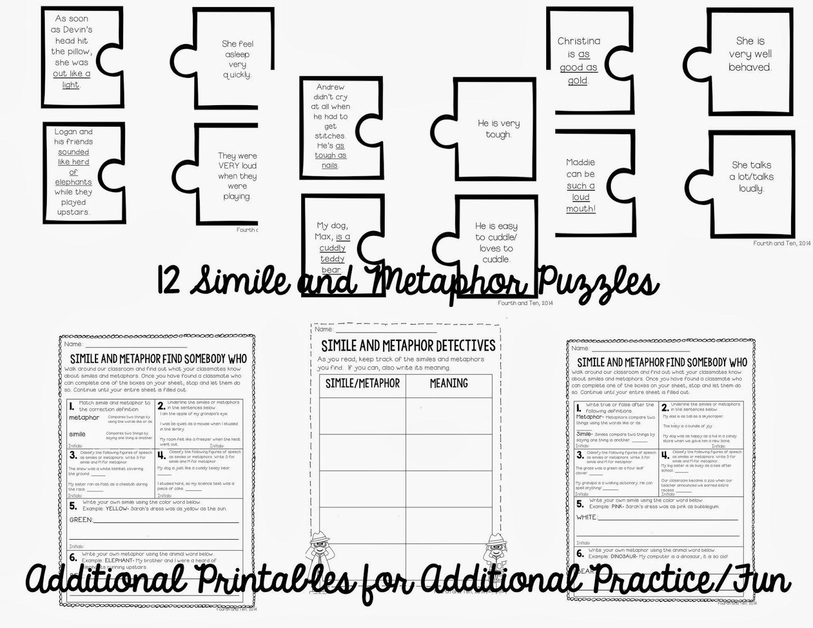 Metaphor Worksheet Middle School Similes and Metaphor Activities On Tpt and A Freebie for You