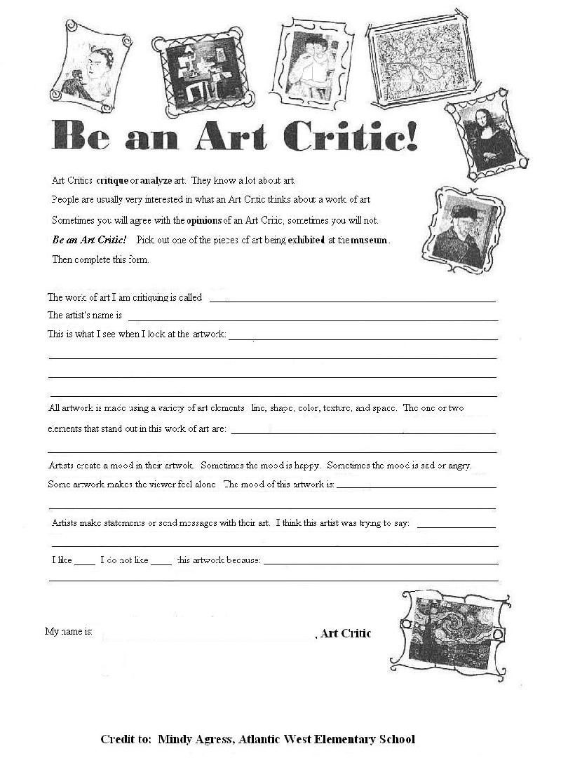 Middle School Art Worksheets Be An Art Critique
