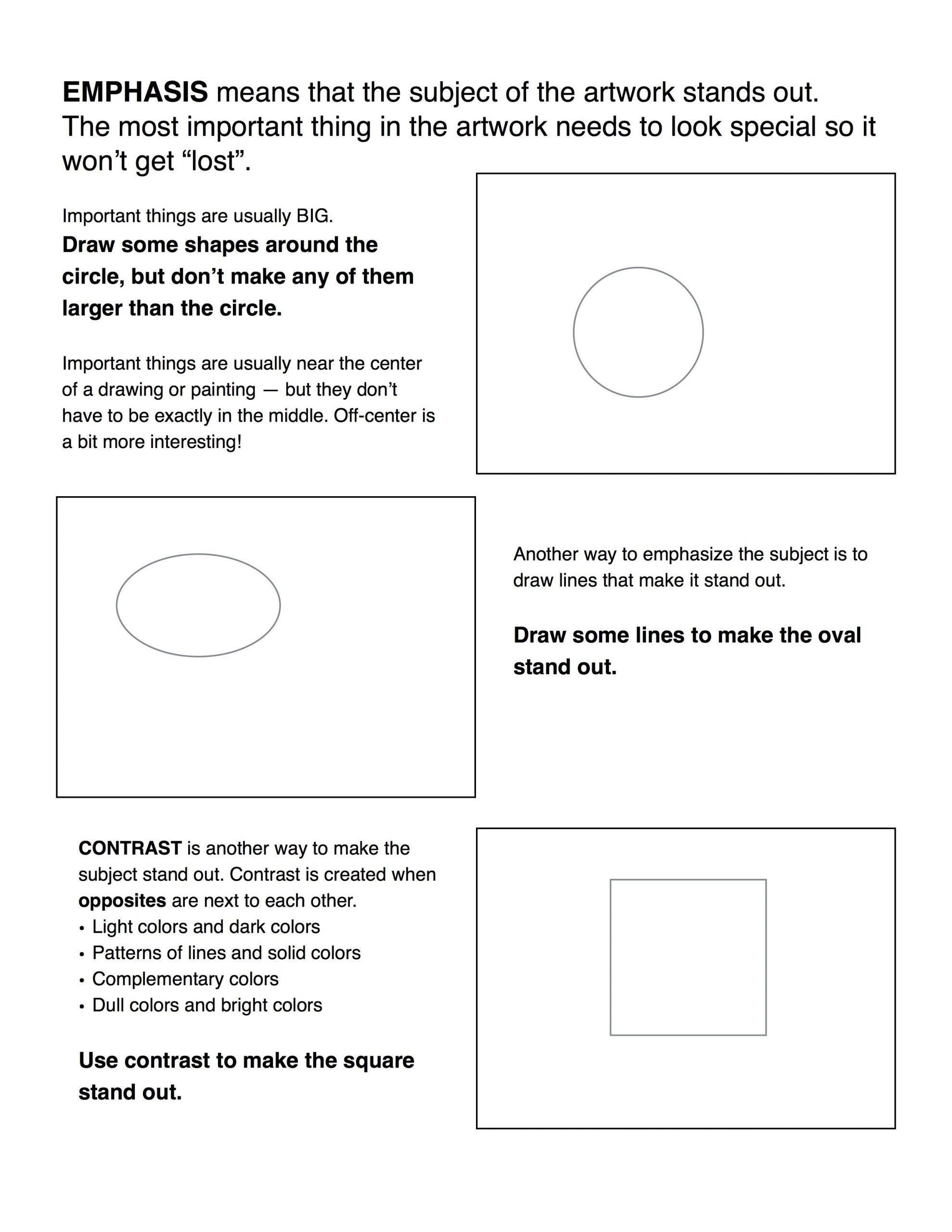 Middle School Art Worksheets Emphasis Contrast Worksheet