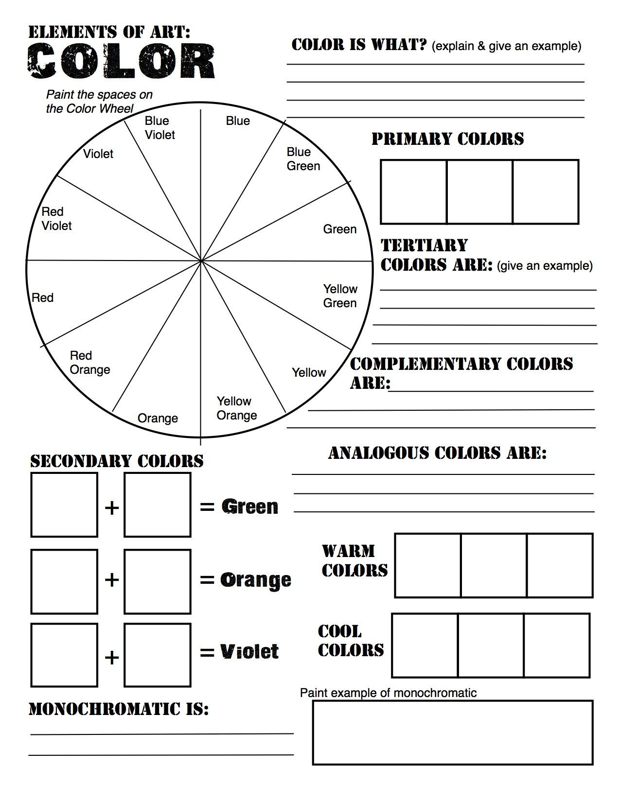 Middle School Art Worksheets Free Elements Of Art Color Wheel Worksheet and Lesson