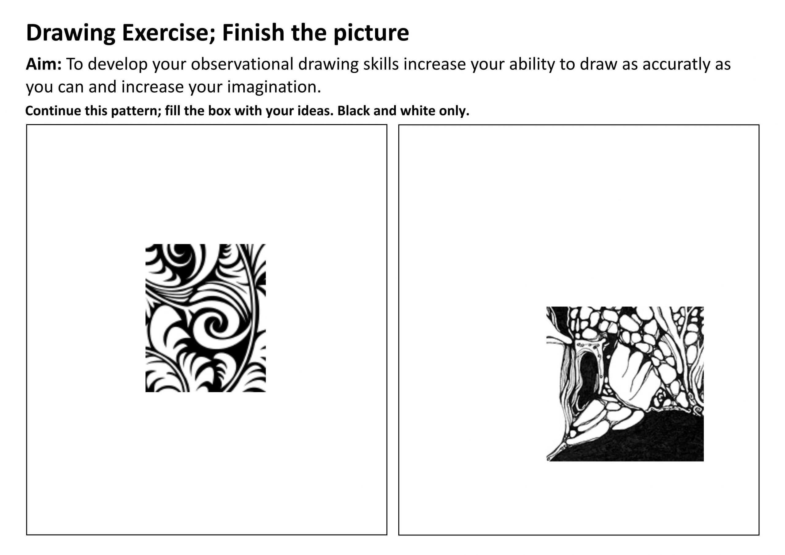 Middle School Art Worksheets Imagination Exercise