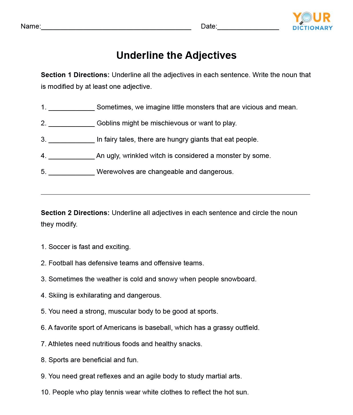 Middle School Health Worksheets Adjective Worksheets for Elementary and Middle School