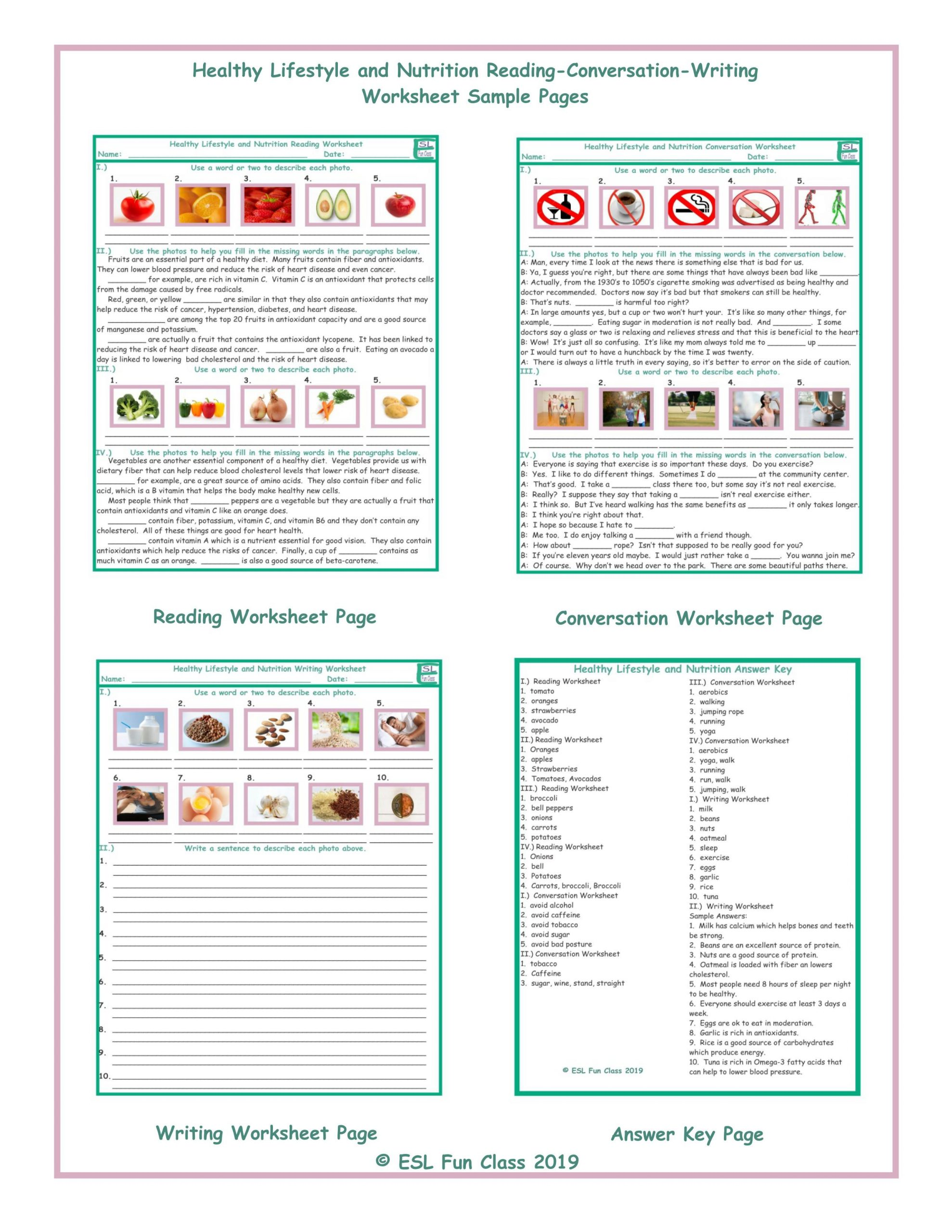 Middle School Health Worksheets Healthy Lifestyle Nutrition Reading Conversation Writing Worksheets