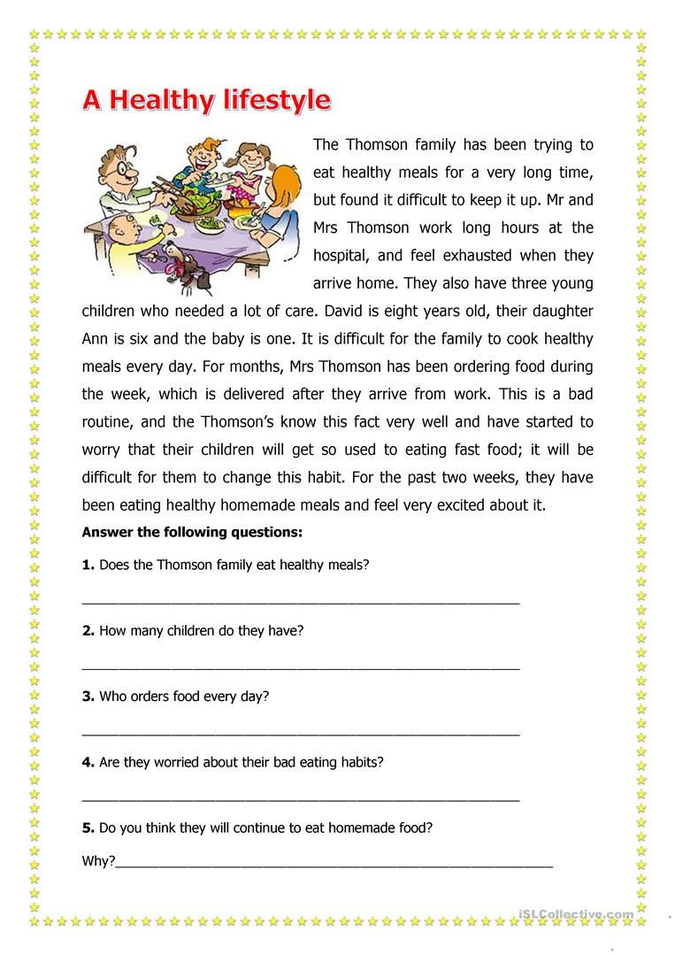 Middle School Health Worksheets Pdf A Healthy Lifestyle Worksheet Free Esl Printable