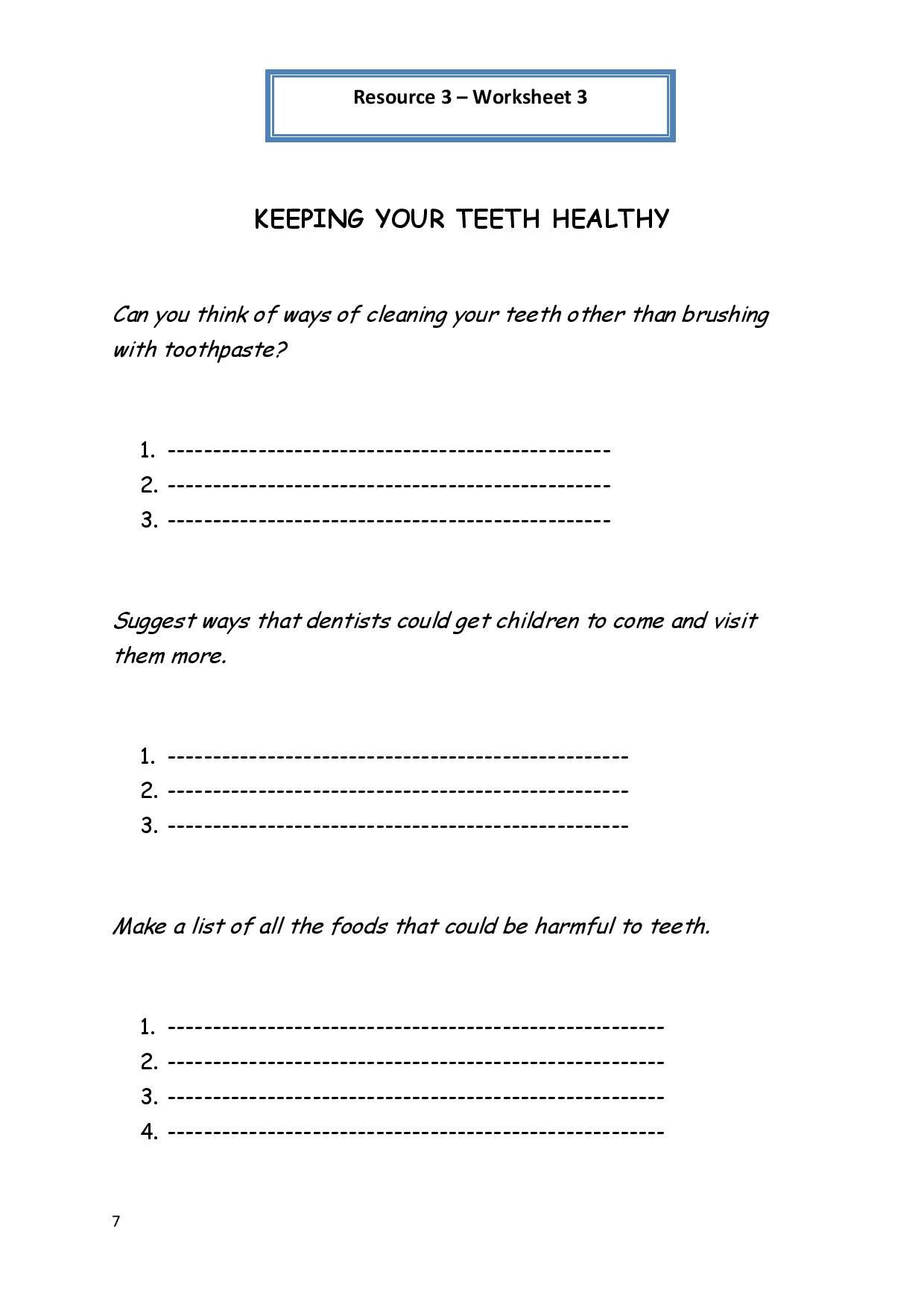 Middle School Health Worksheets Personal Hygiene Worksheet 3 Keeping Your Teeth Healthy