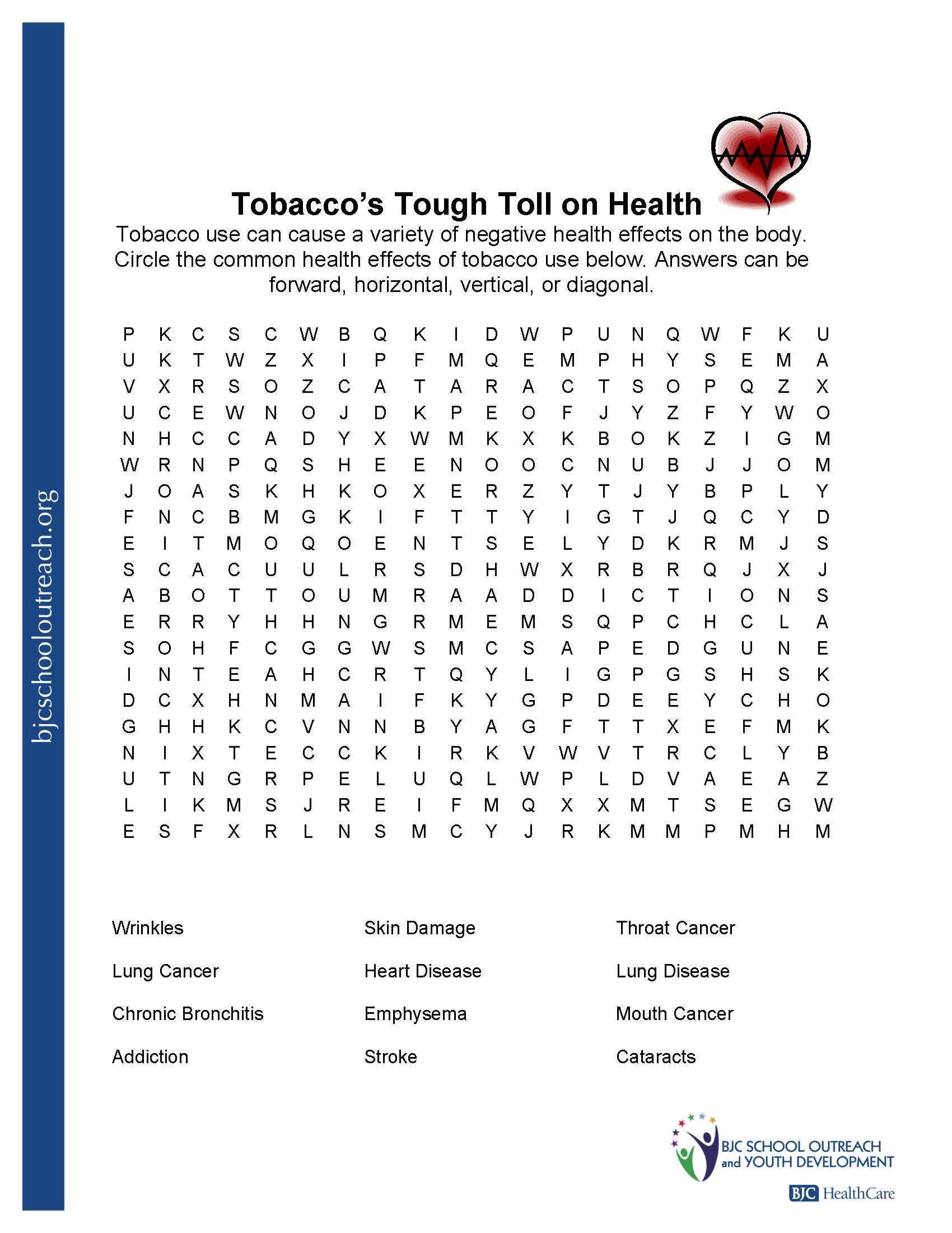 Middle School Health Worksheets Printable Worksheets Health for Highschool Students Effects