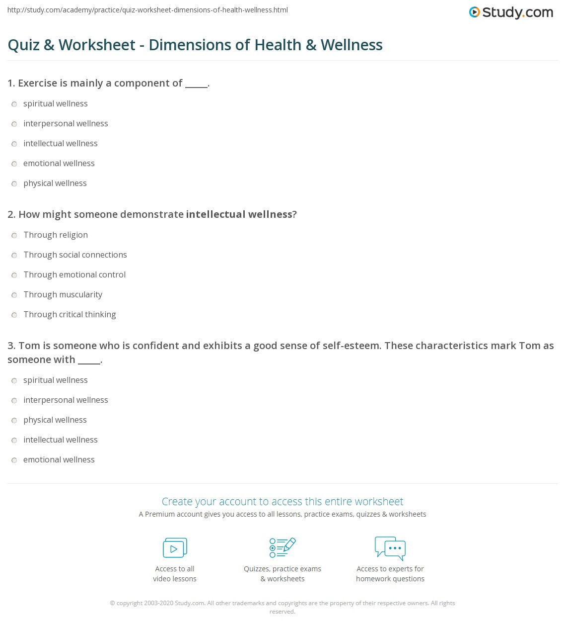 Middle School Health Worksheets Quiz & Worksheet Dimensions Of Health & Wellness