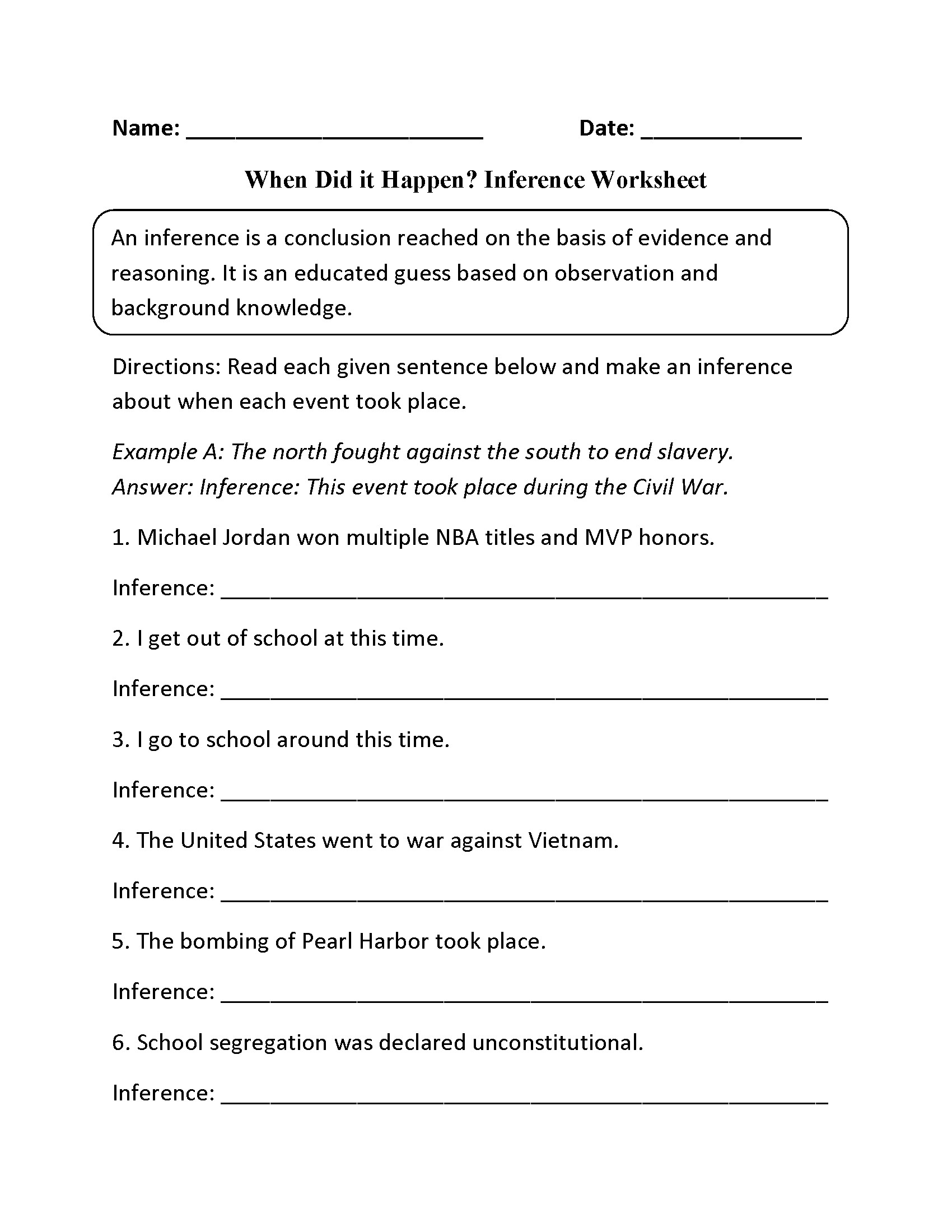 Middle School Inference Worksheets Making Inferences Worksheets 5th Grade