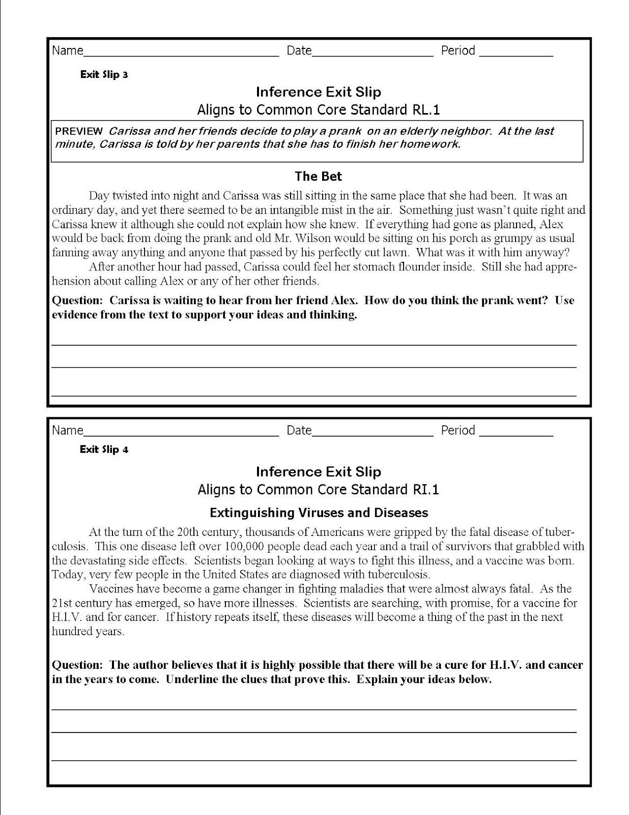 Middle School Inference Worksheets the Lesson Cloud Middle School Mon Core Inference Exit