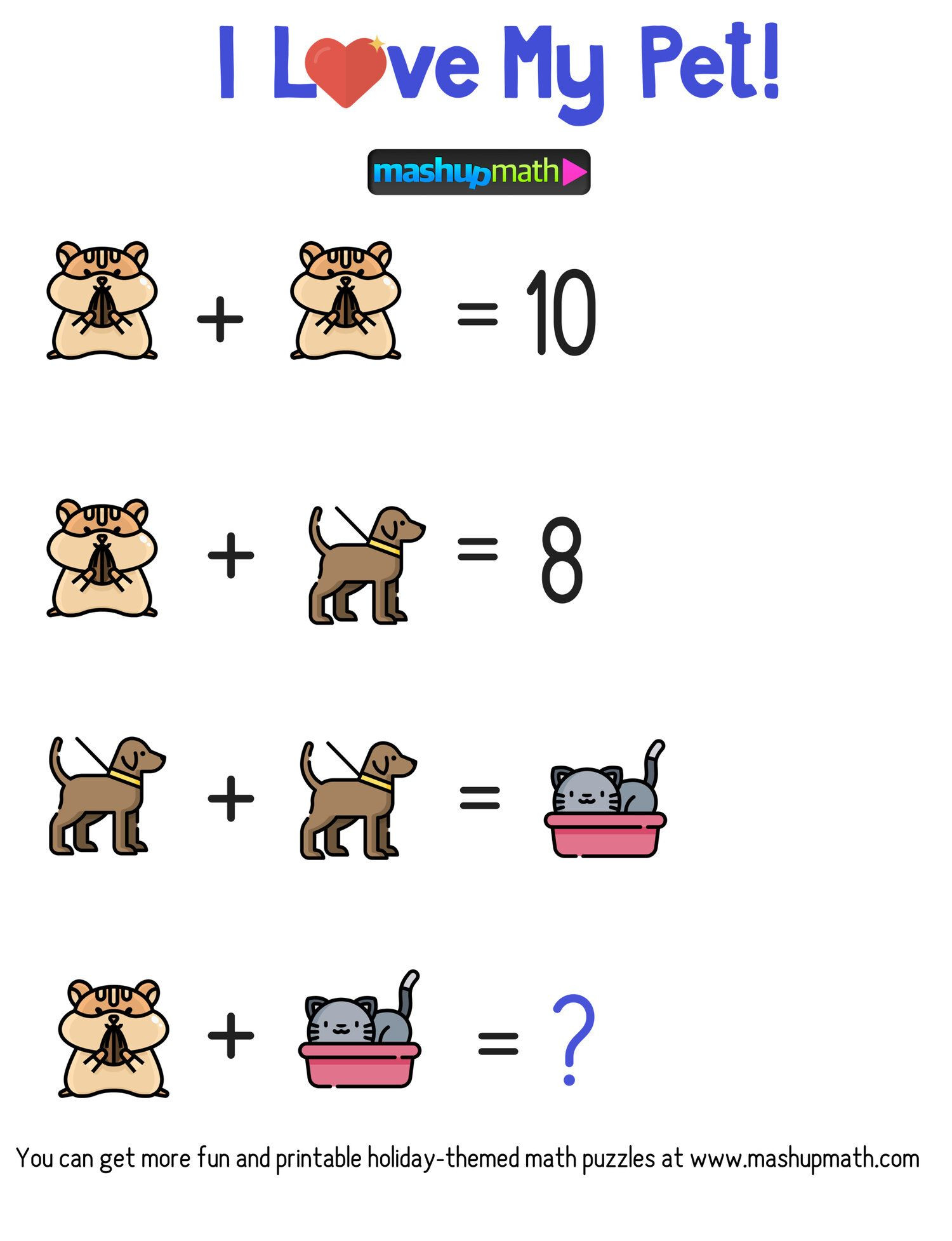 Middle School Math Puzzles Printable Celebrate National Pet Day In Your Classroom with these Free