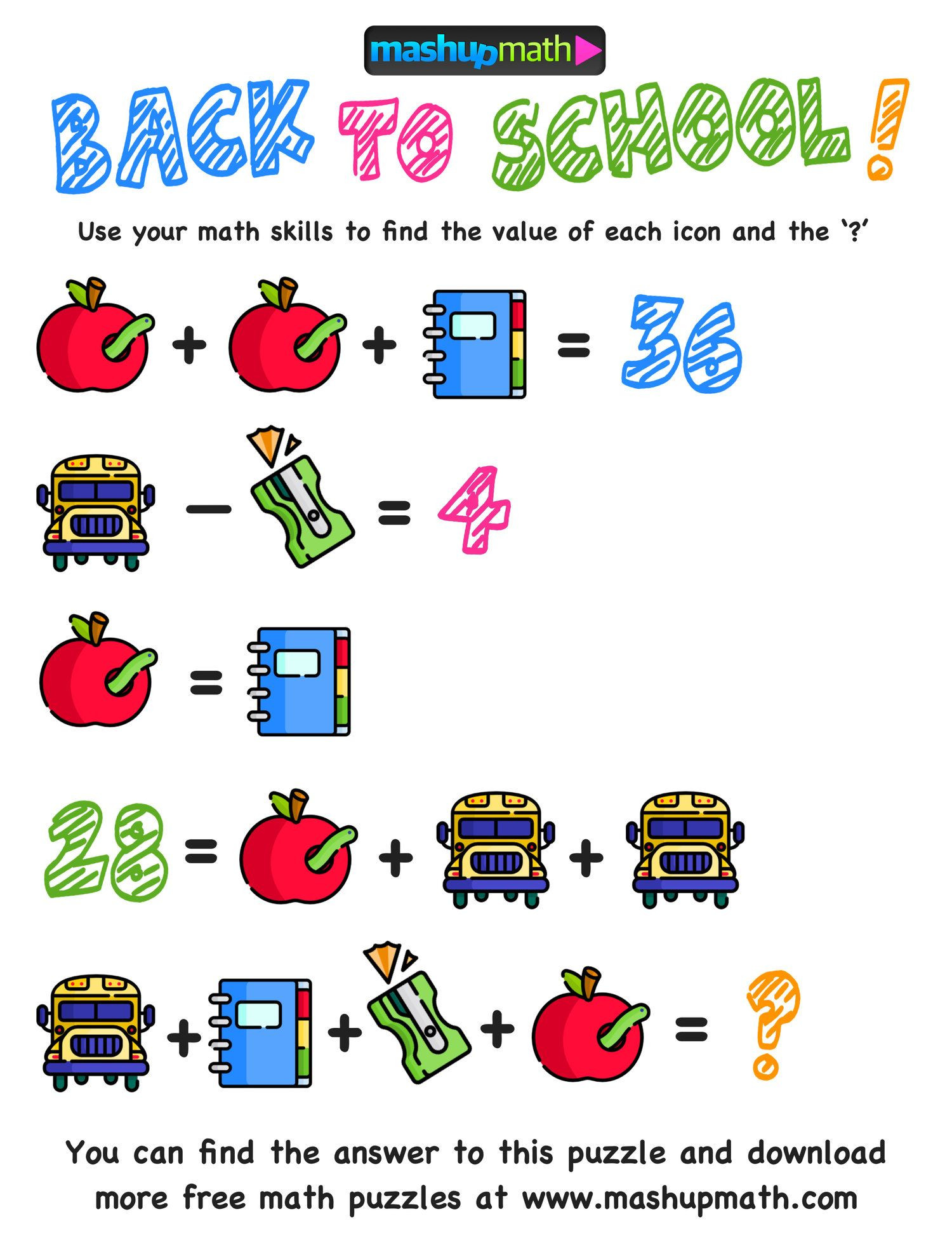 Middle School Math Puzzles Printable Here are the Ly Free Back to School Math Worksheets You Ll