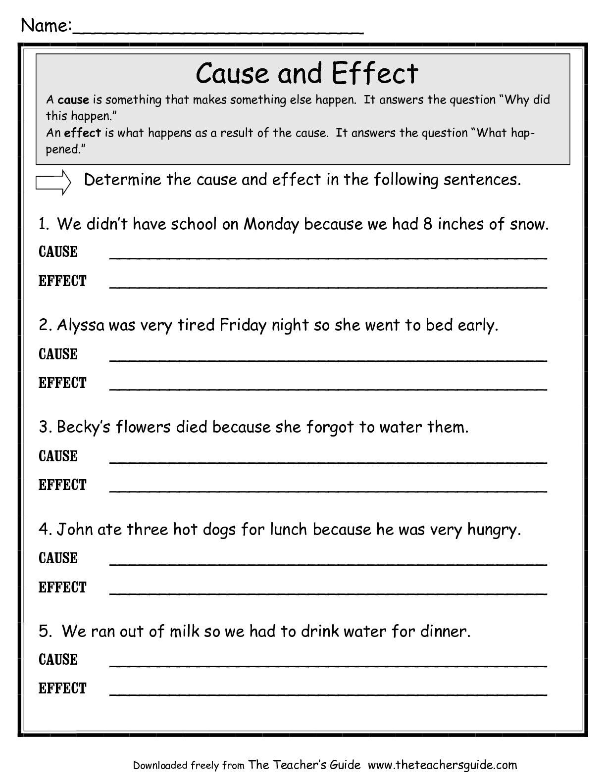Middle School Science Worksheets Pdf Cause and Effect Worksheet Google Search