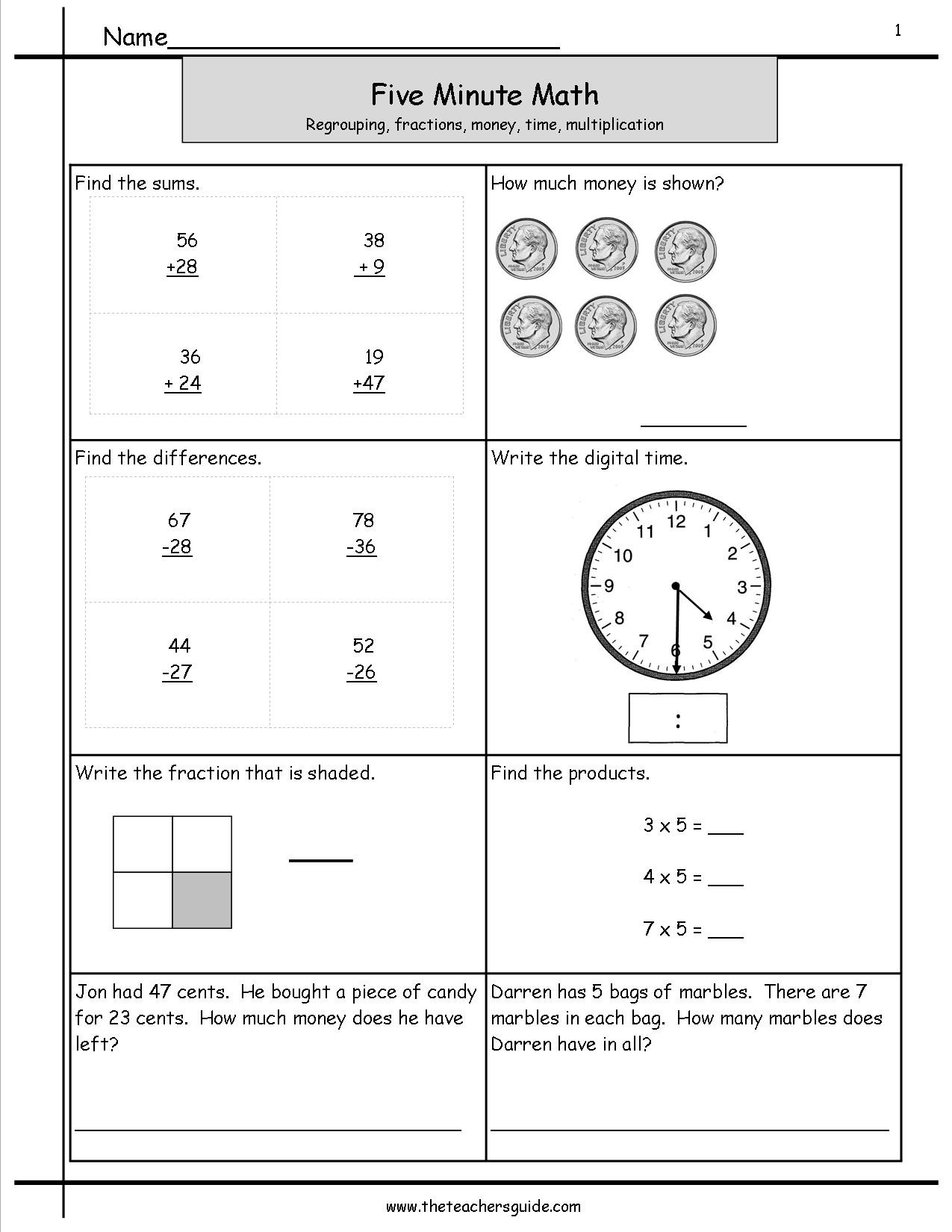 Minute Math Subtraction Five Minute Math Review Worksheets From the Teacher Guide