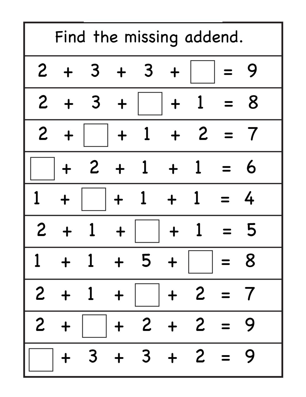 Missing Addend Worksheets 1st Grade 1st Grade Archives Page 4 Of 13