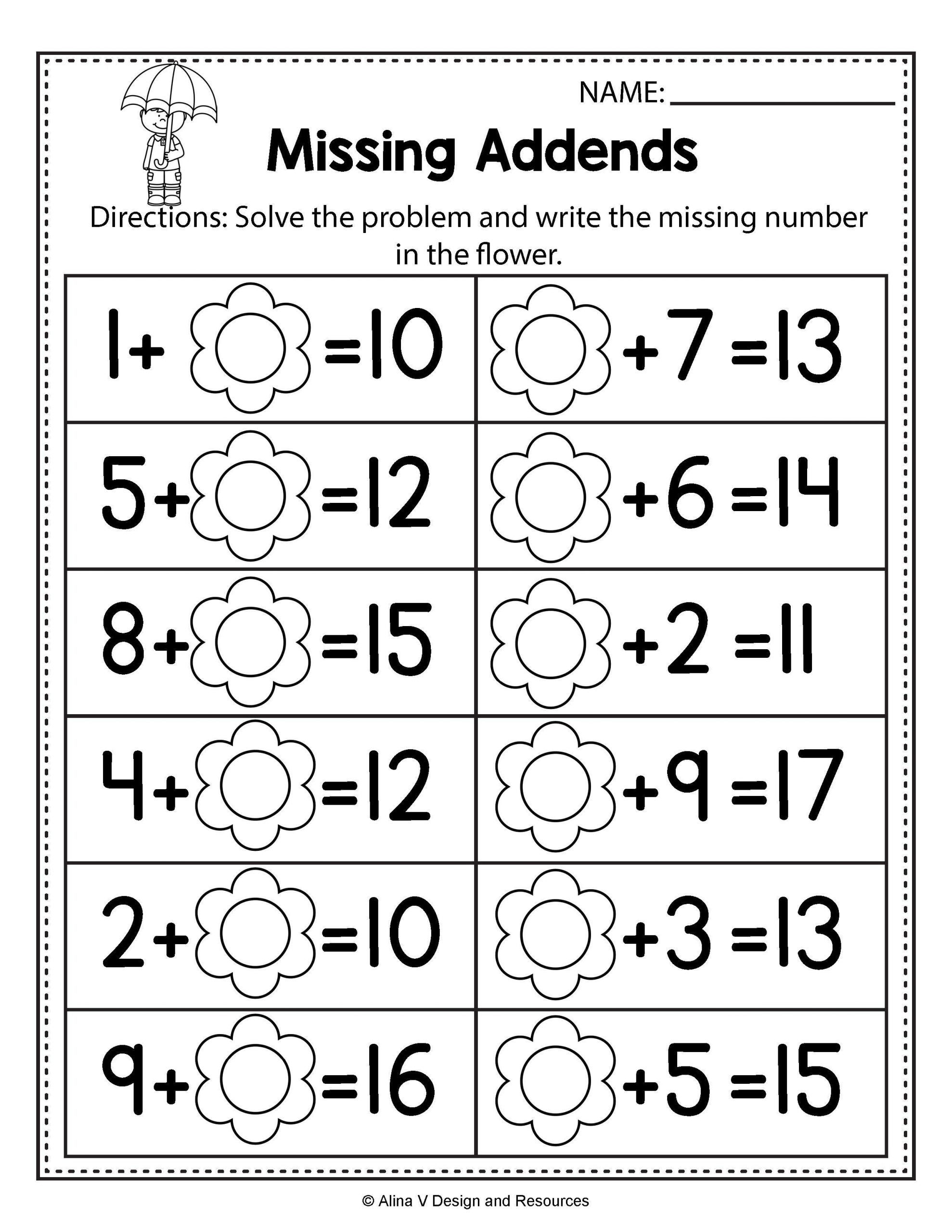 Missing Addend Worksheets 1st Grade Free Missing Addend Worksheets 1st Grade Free