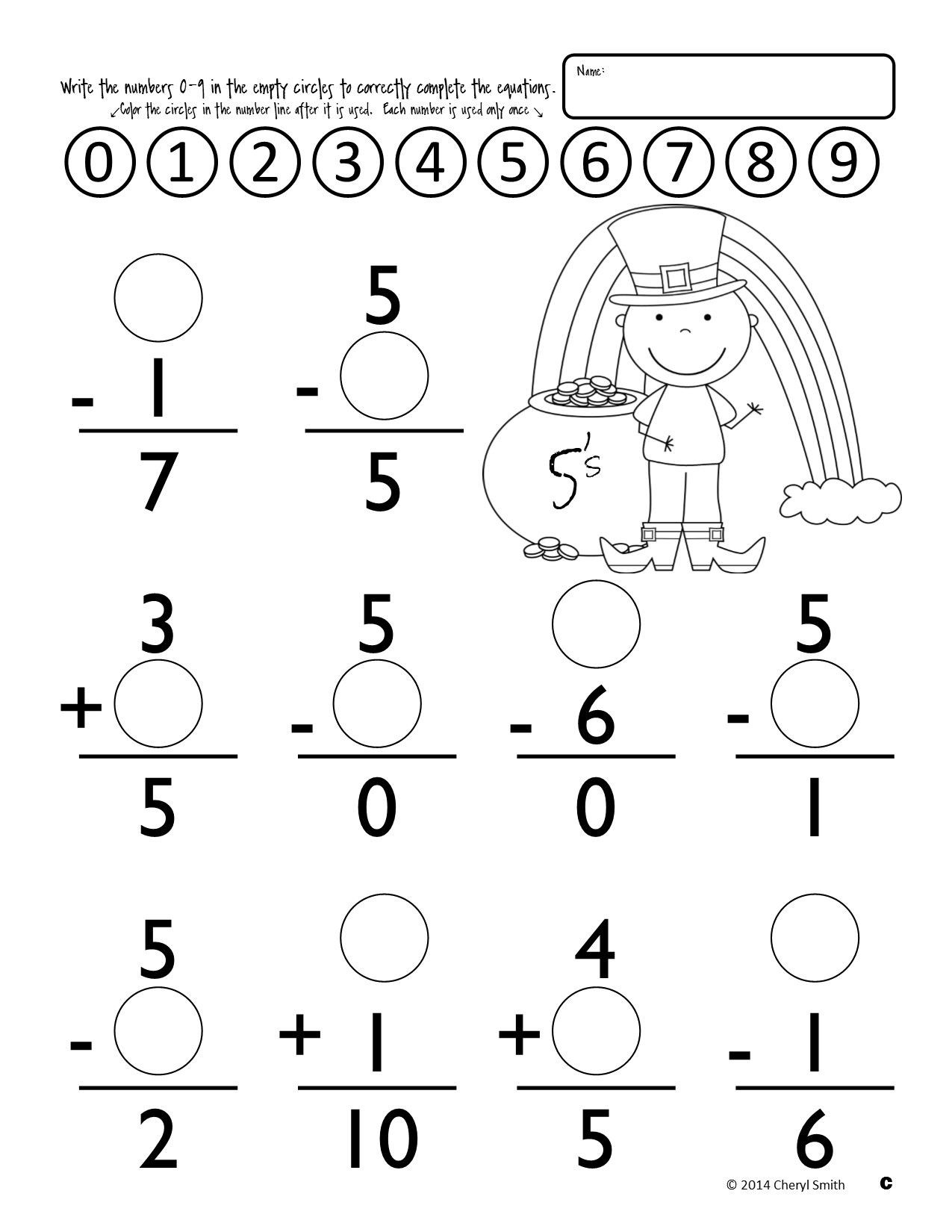 Missing Addends Worksheets 1st Grade Math Facts St Patrick S Day Easter Addition and