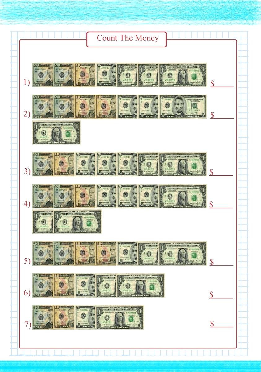 Money Worksheets 3rd Grade Counting Coins and Bills Worksheets Money Chart and