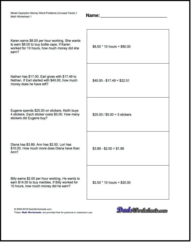 Money Worksheets 3rd Grade Money Word Problems Mixed Operation Money Word Problems