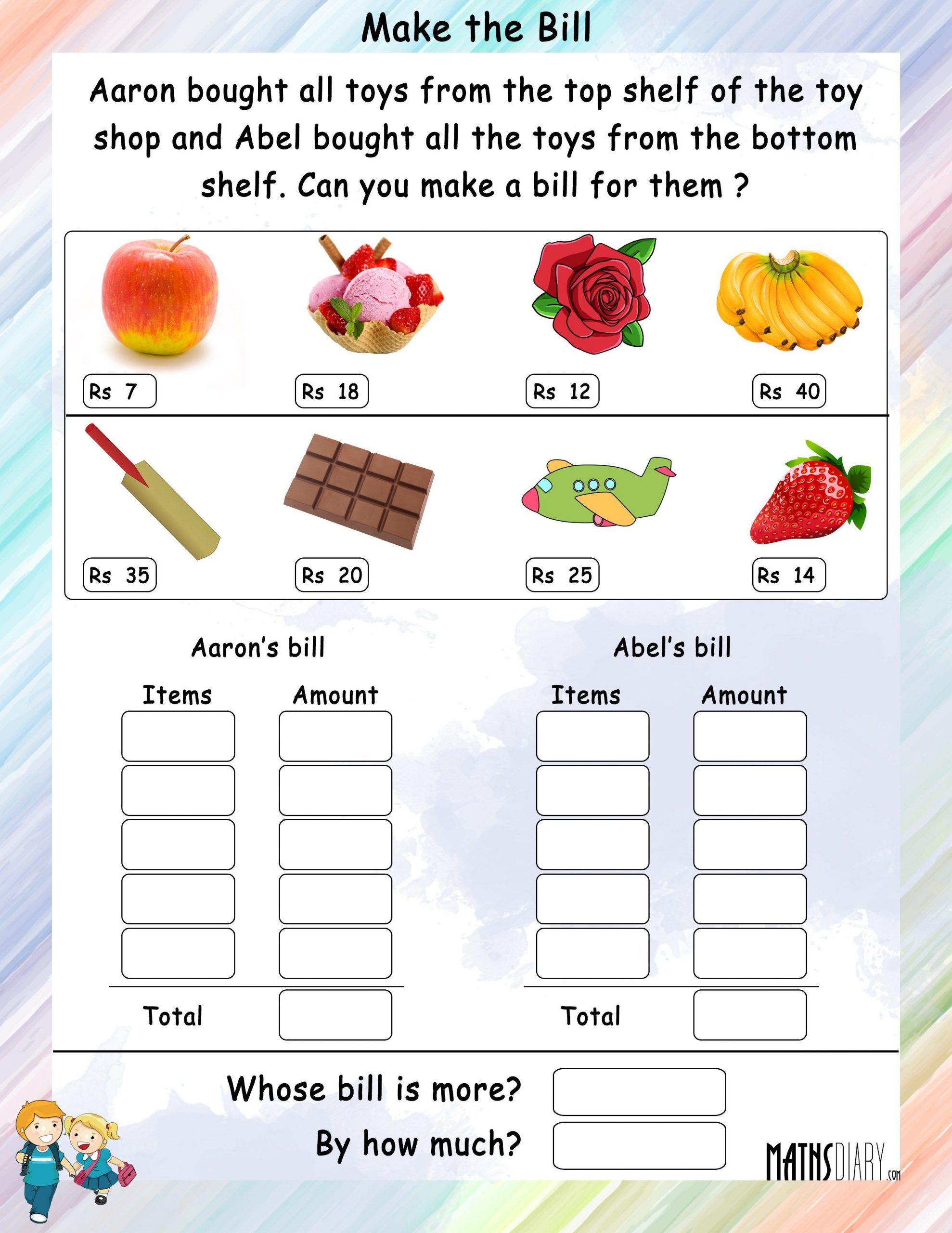 Money Worksheets for 3rd Grade Money Worksheet for Grade 3 In Rupees Yahoo India Image