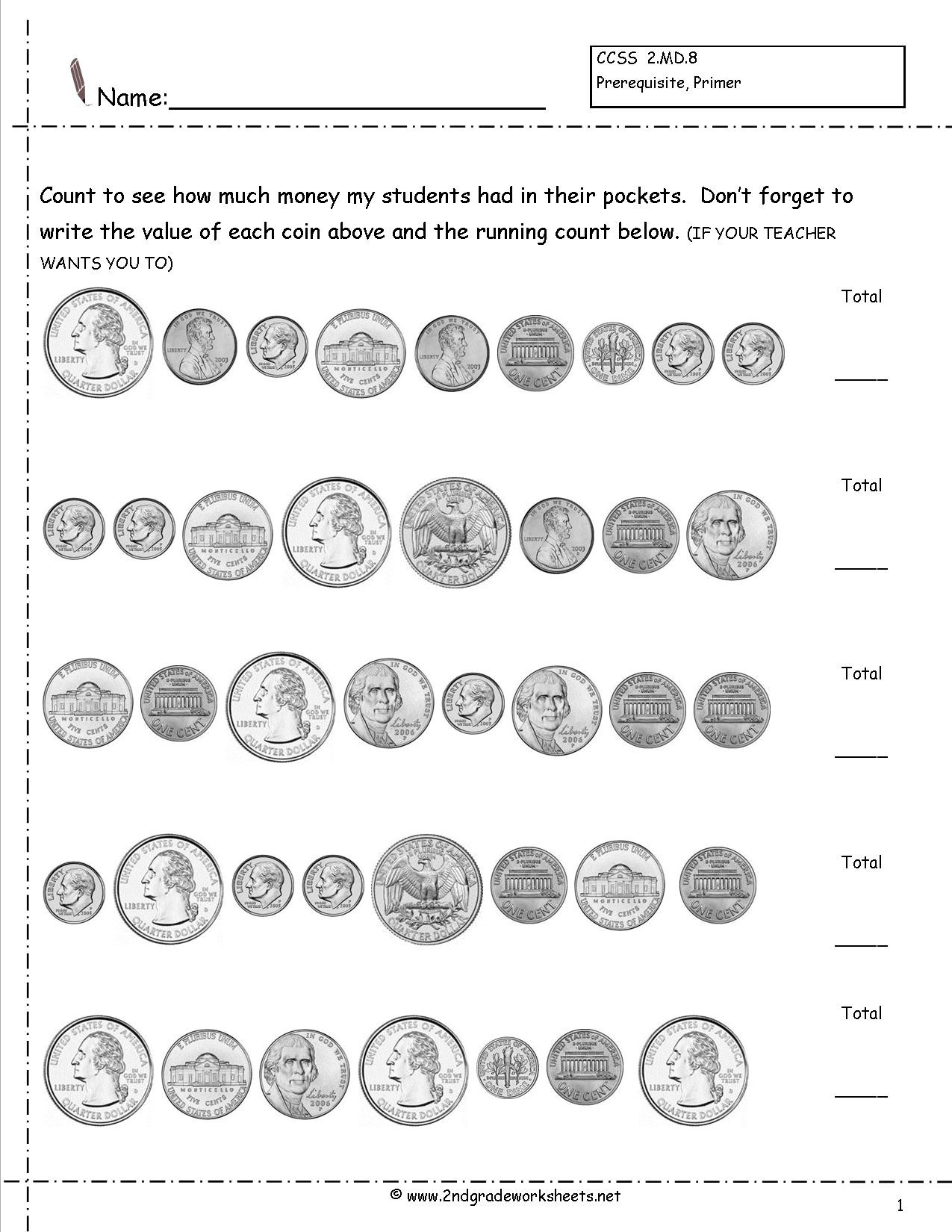 Money Worksheets for Second Grade Counting Coins and Money Worksheets Printouts Grade Counting