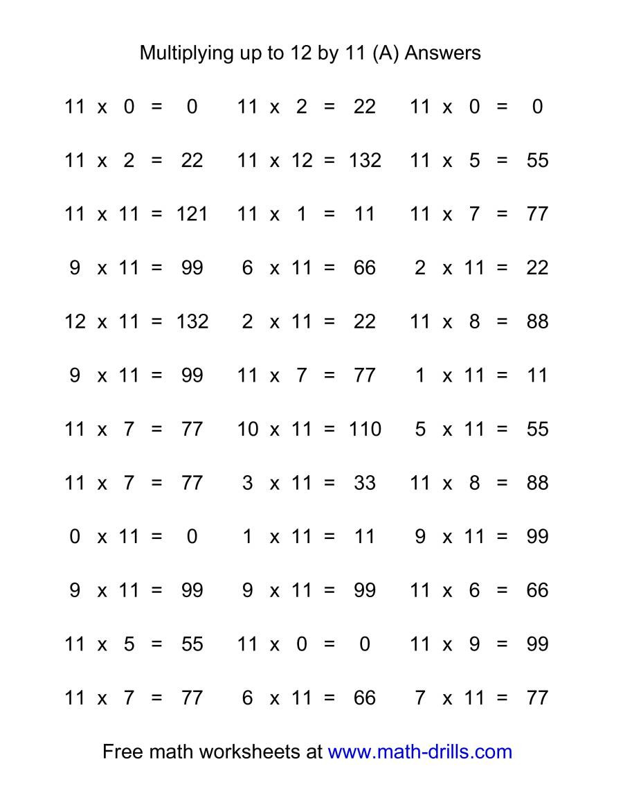 Multiplication Worksheets 0 12 Printable 36 Horizontal Multiplication Facts Questions 11 by 0 12 A