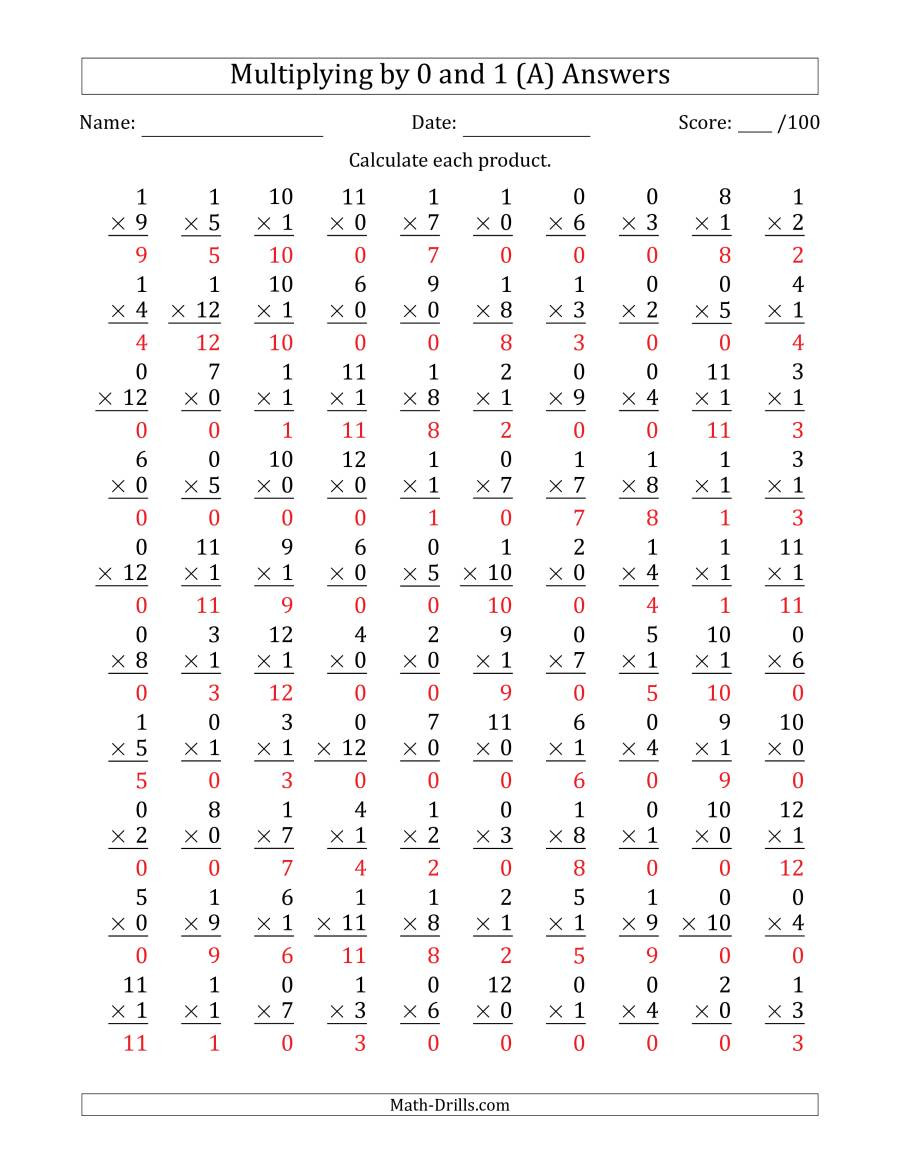 Multiplication Worksheets 0 12 Printable Multiplying by 0 and 1 with Factors 1 to 12 100 Questions A