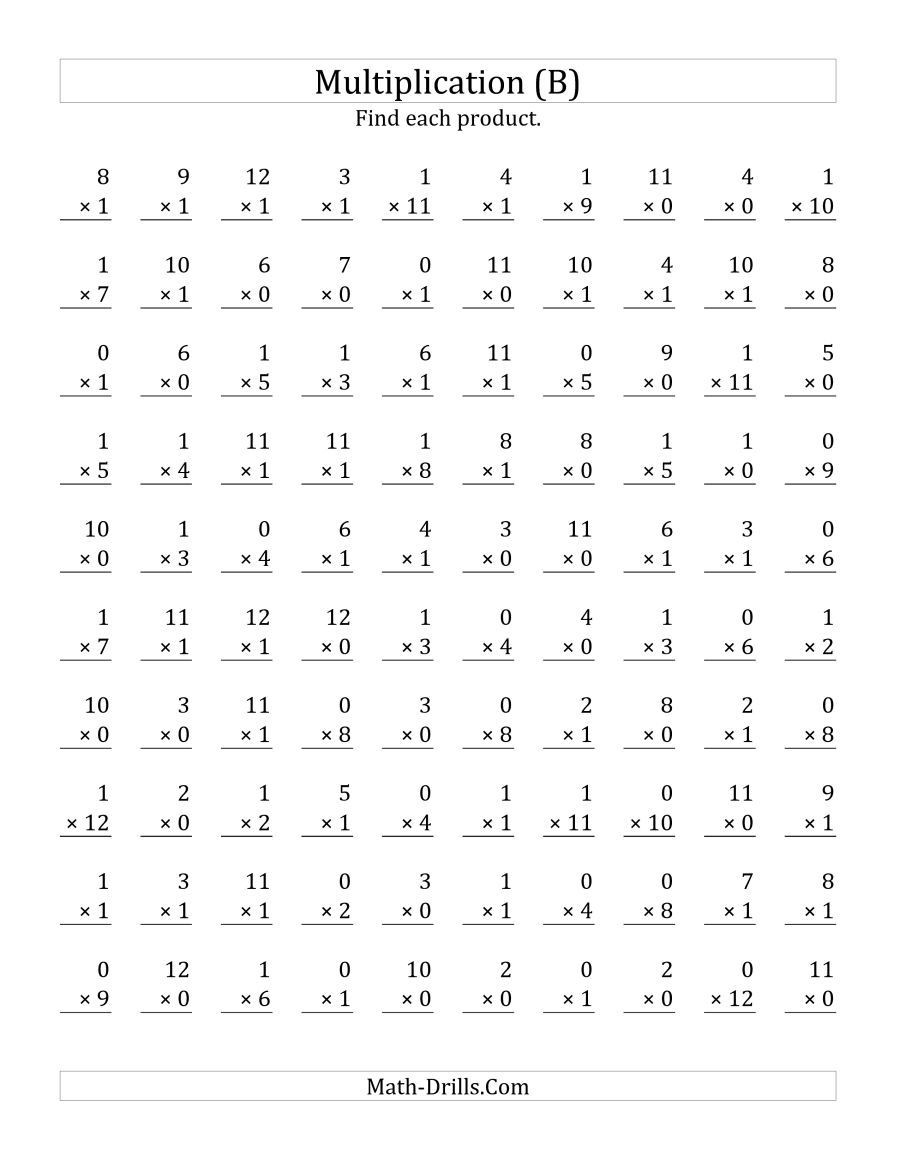 Multiplication Worksheets 0 12 Printable the Multiplying 1 to 12 by 0 and 1 B Math Worksheet