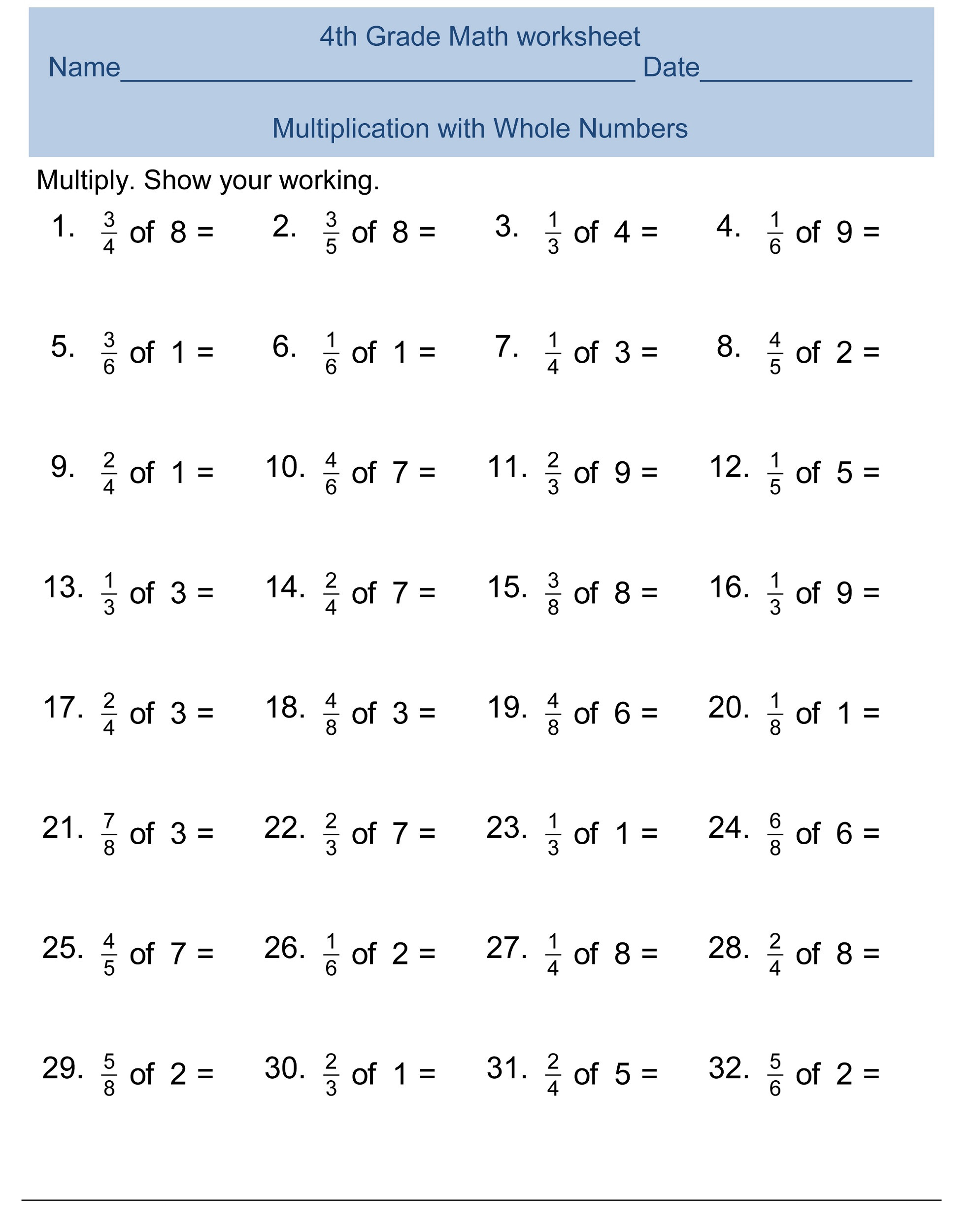Multiplication Worksheets Grade 4 Pdf Free 4th Grade Math Worksheets Activity Shelter Fourth