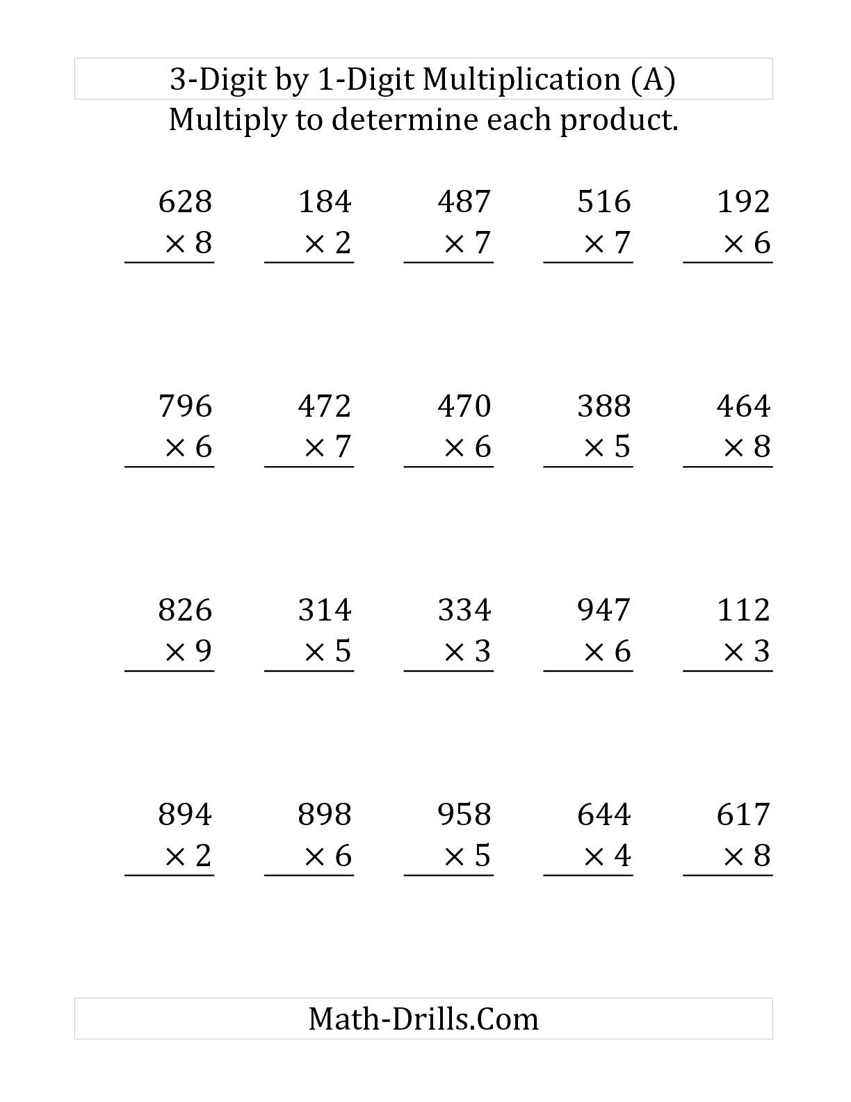 Multiplication Worksheets Grade 4 Pdf Three Digit Multiplication Worksheets Free Printable Triple
