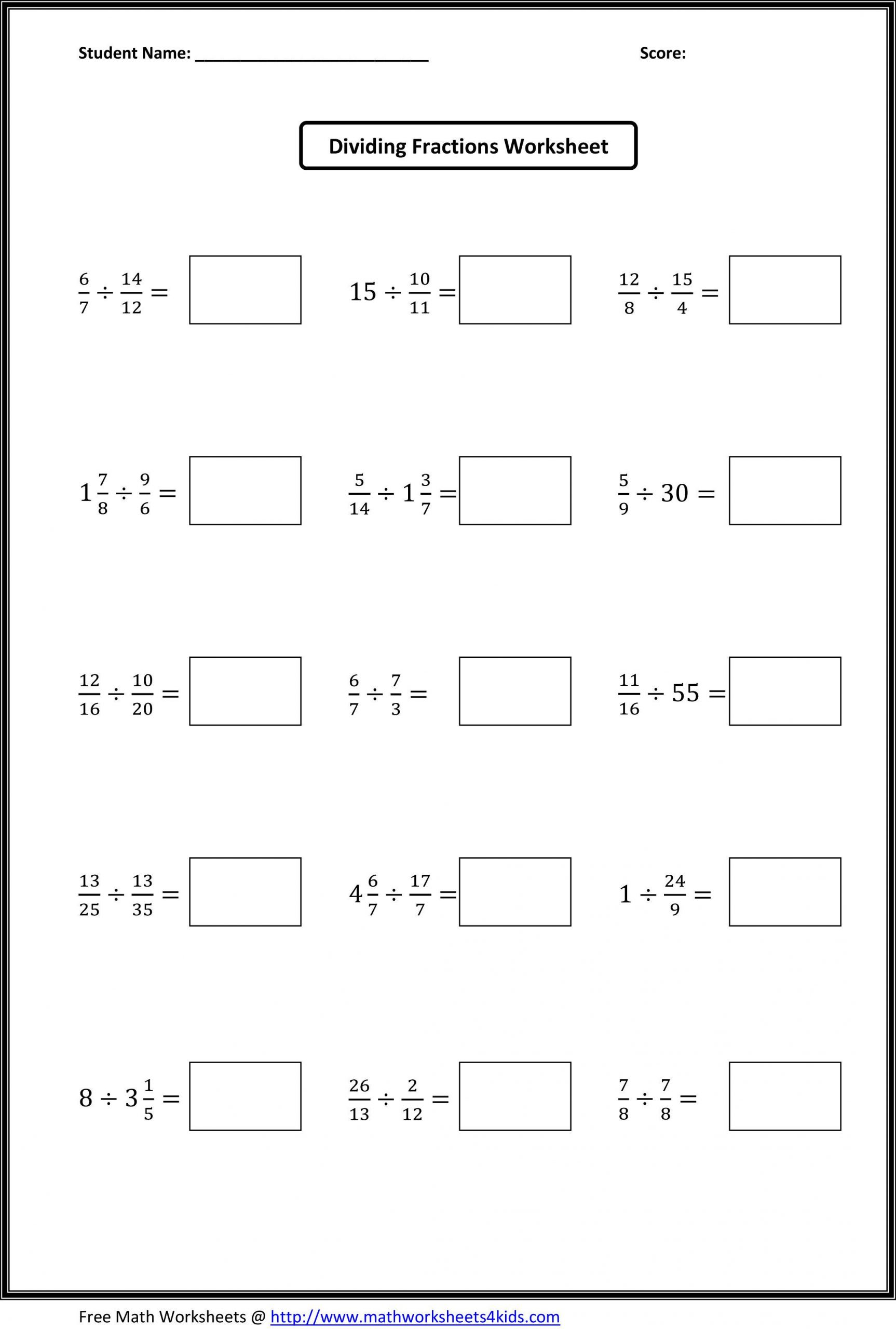 Multiplying Fractions Worksheet 6th Grade Dividing Fractions Worksheets