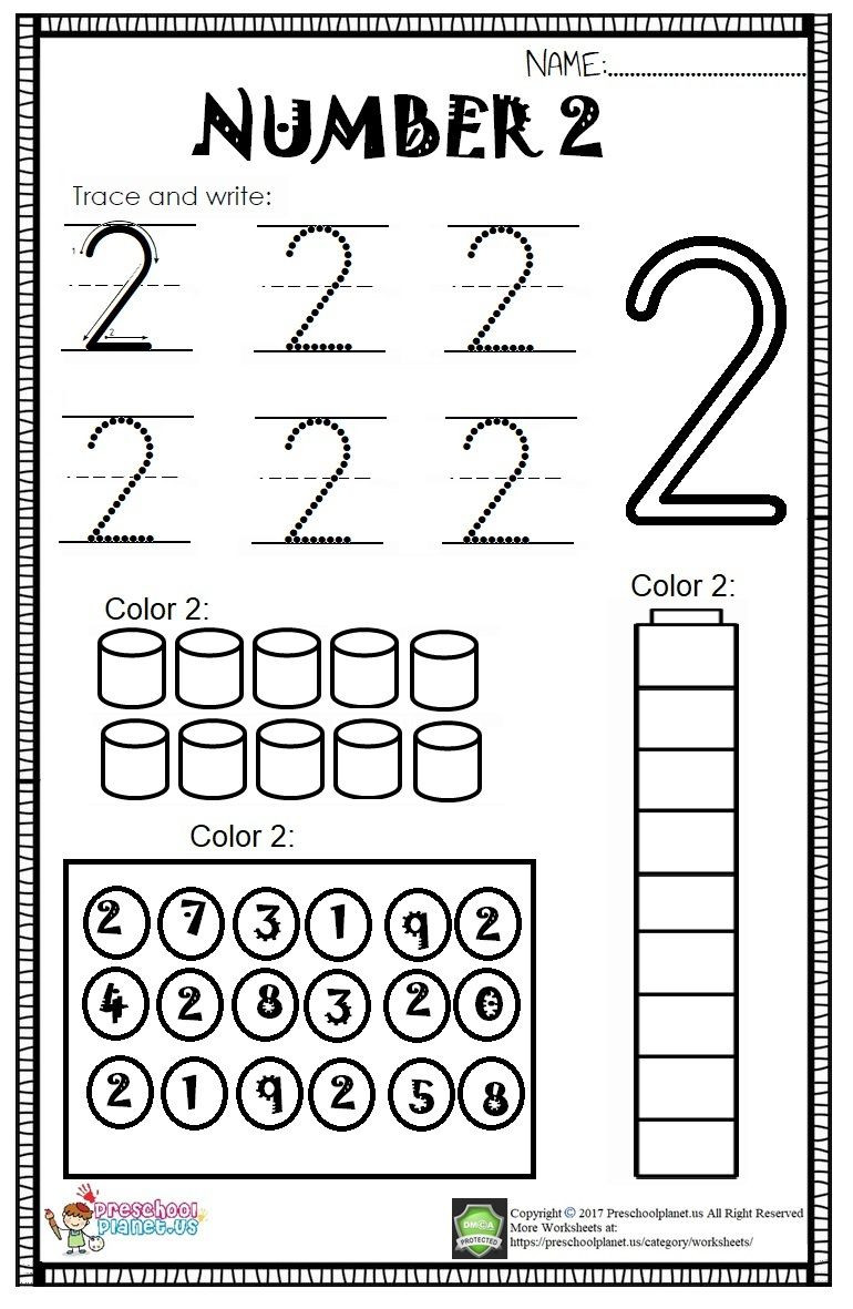 Number 2 Worksheets for Preschool Here is Number 2 Worksheet for Kids there are Lots Of