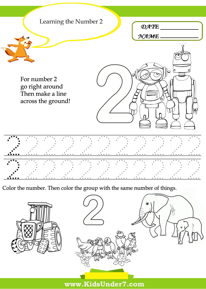 Number 2 Worksheets for Preschool Kids Under 7 Free Printable Kindergarten Number Worksheets