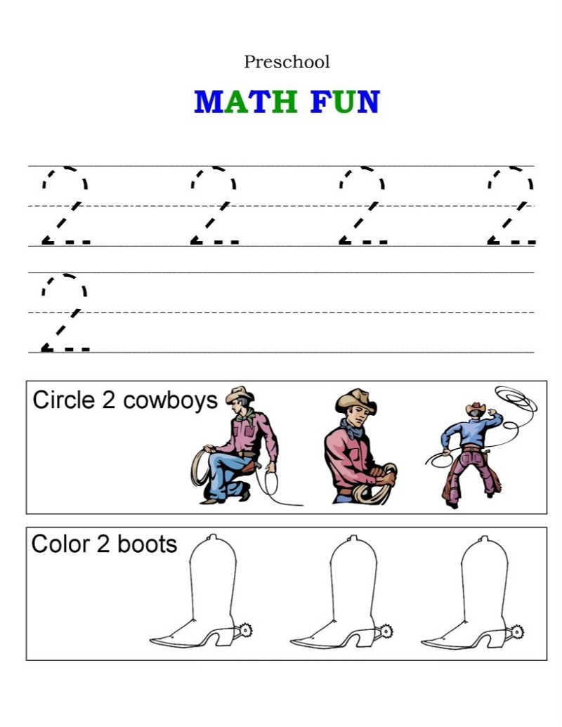 Number 2 Worksheets for Preschool Math Worksheet Preschool Maths Worksheets Free Download