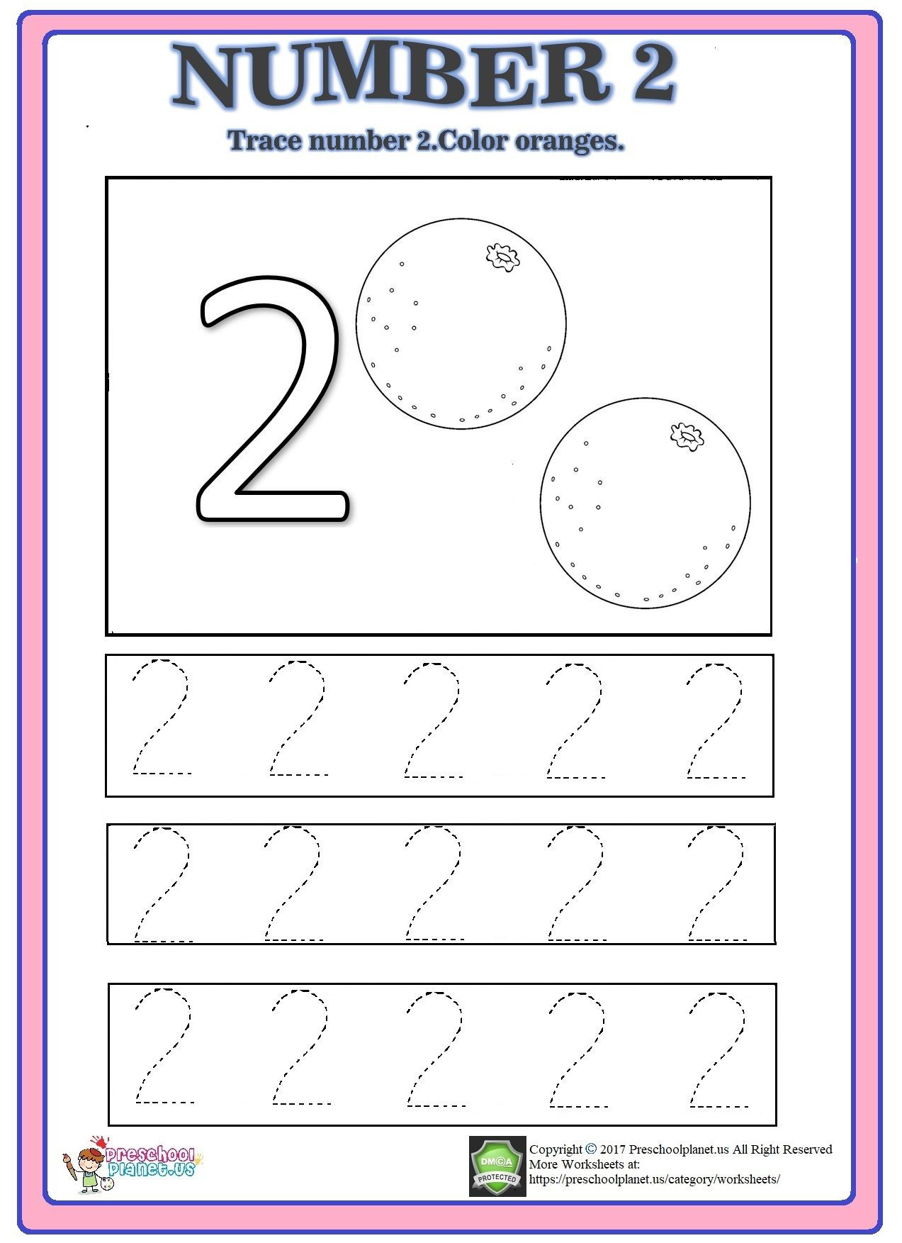 Number 2 Worksheets for Preschool Number 2 Trace Worksheet