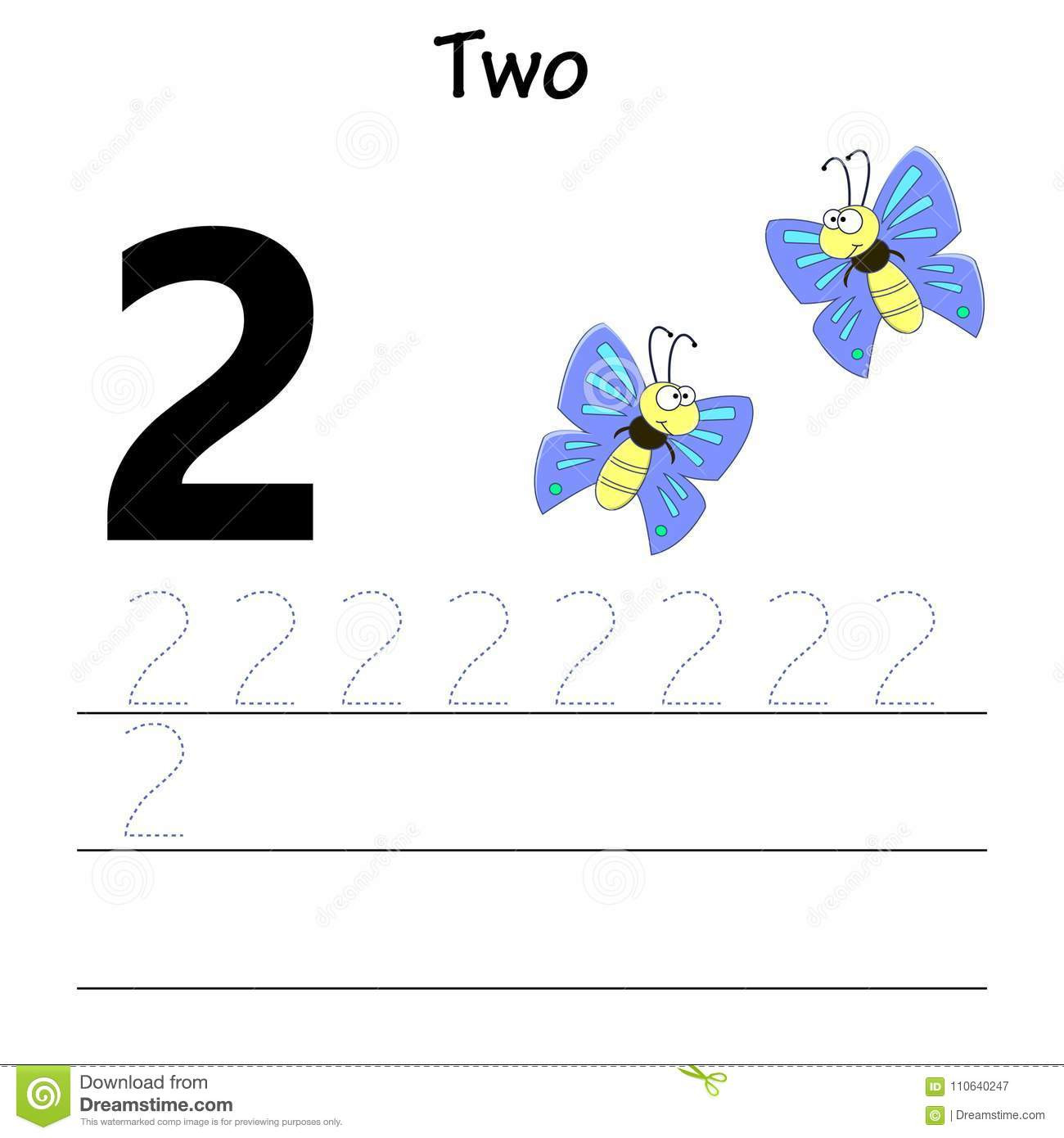 Number 2 Worksheets for Preschool Number Two Tracing Practice Stock Vector Illustration Of