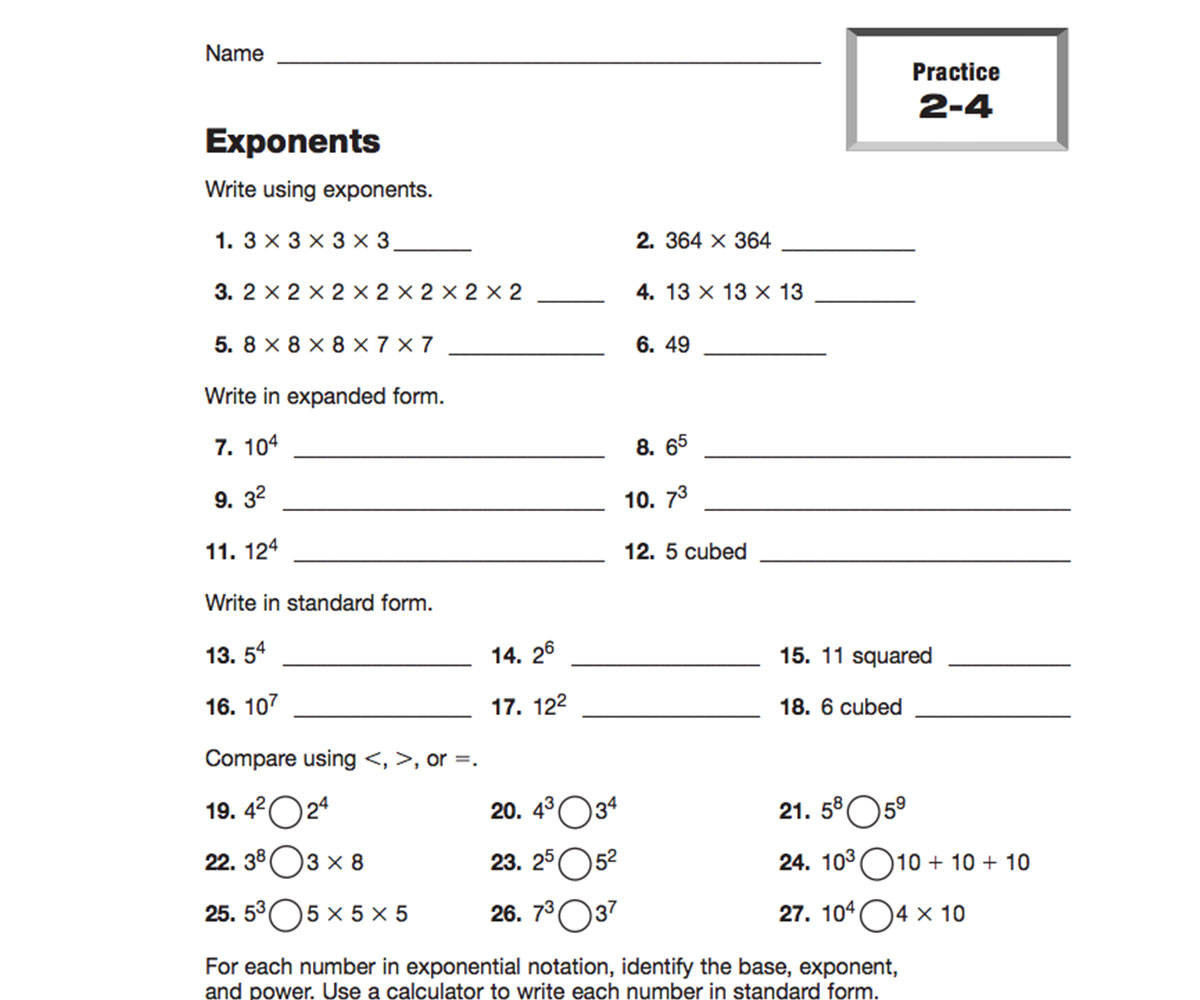 Number Pattern Worksheets 5th Grade Patterns In Numbers Using Exponents Printable 5th 6th