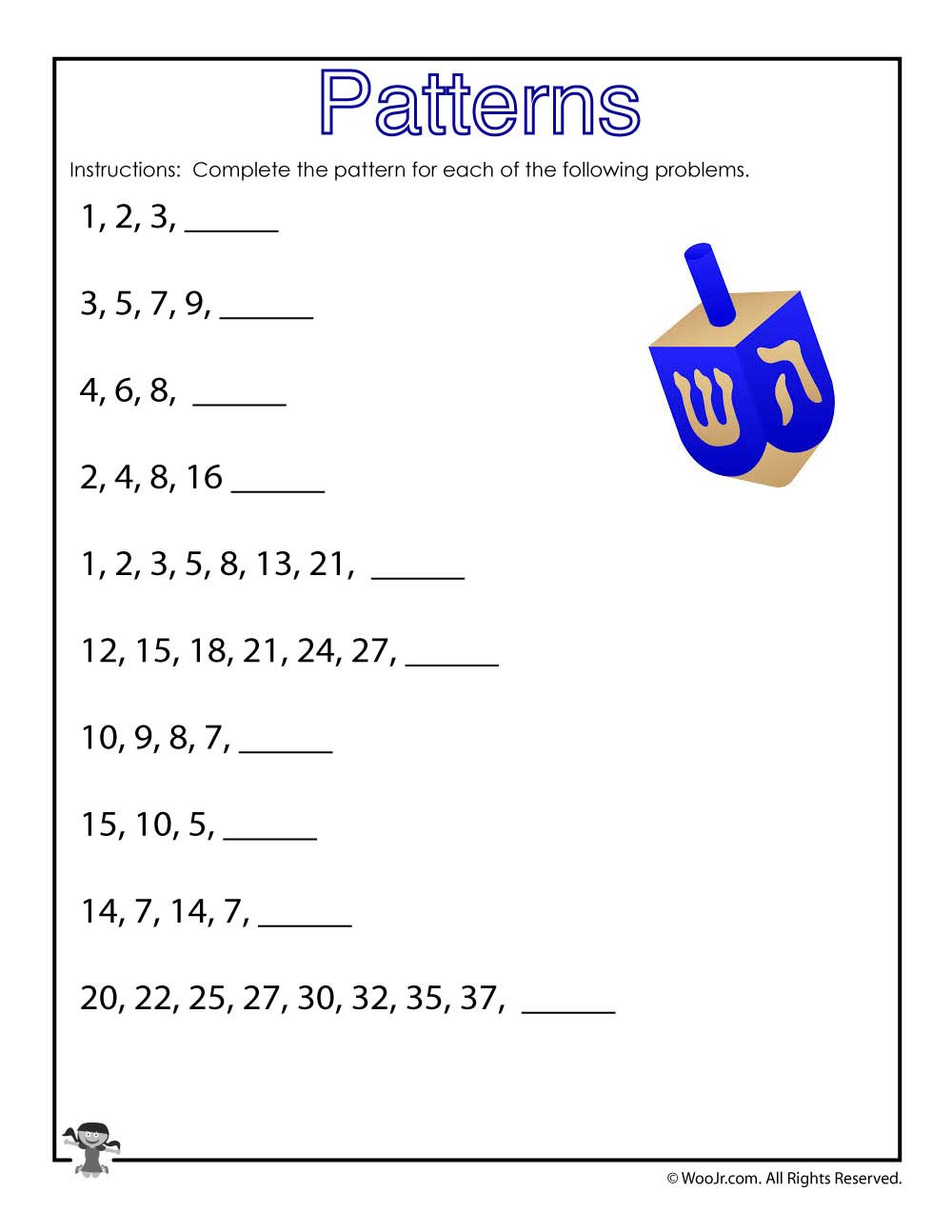 Number Patterns Worksheets Grade 6 Number Patterns Worksheet Hanukkah